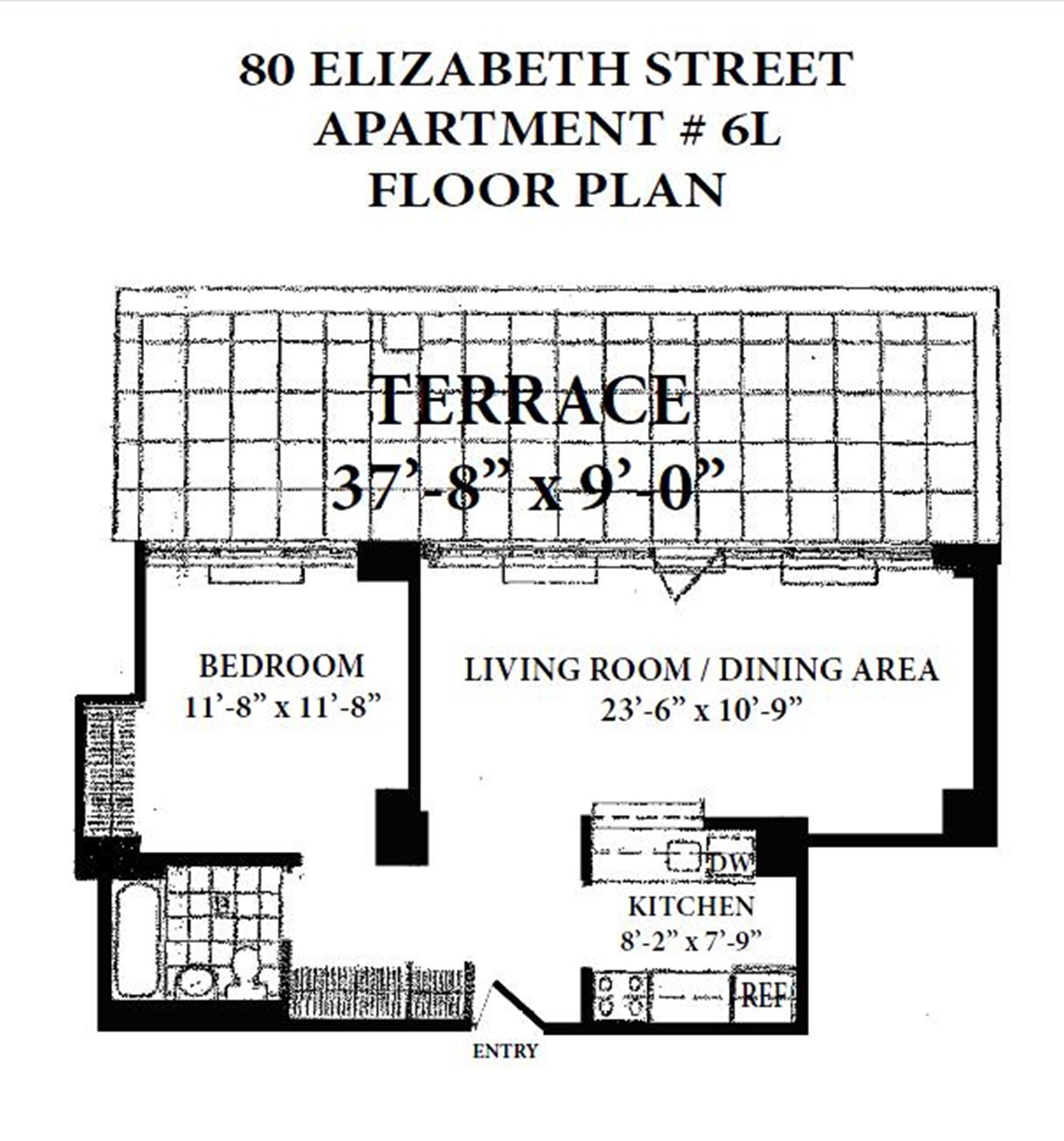 Floor plan of 80 Elizabeth St, 6L - Little Italy - Chinatown, New York