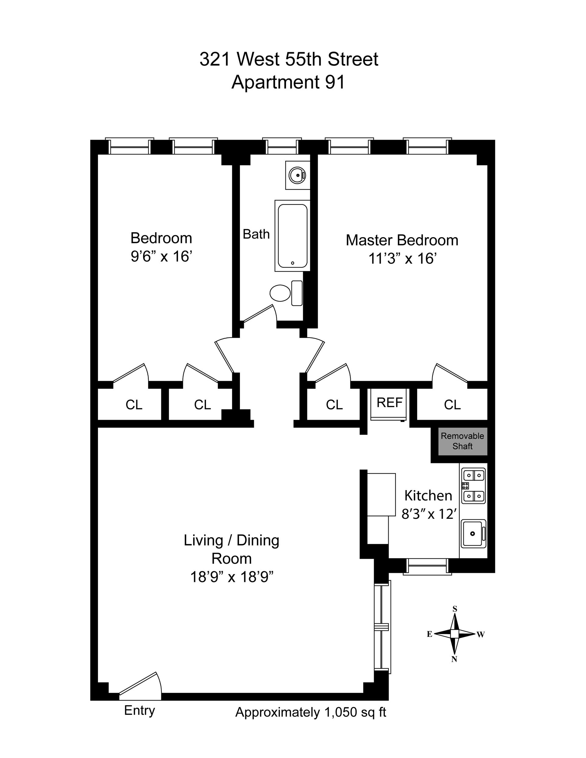 Floor plan of 321 West 55th St, 91 - Clinton, New York