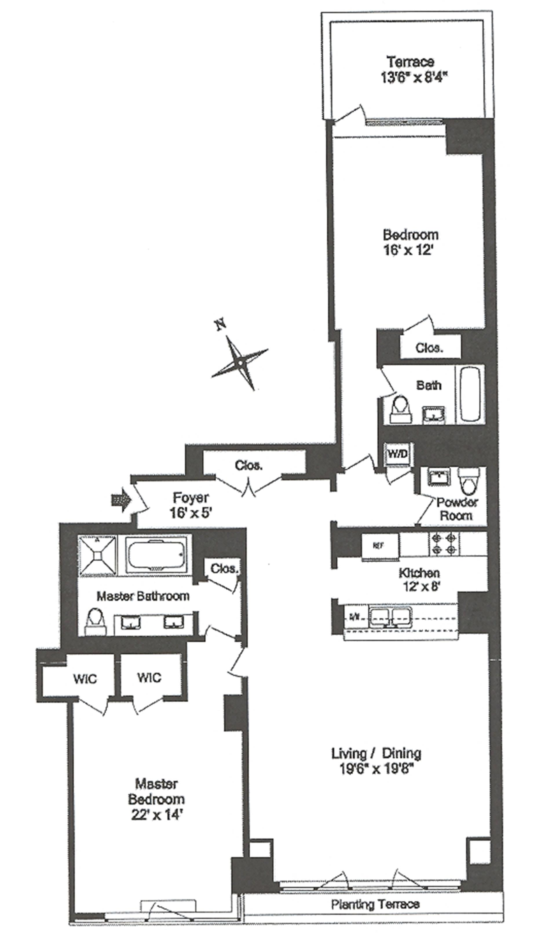 Floor plan of 1 Morton Square, 2BE - West Village - Meatpacking District, New York
