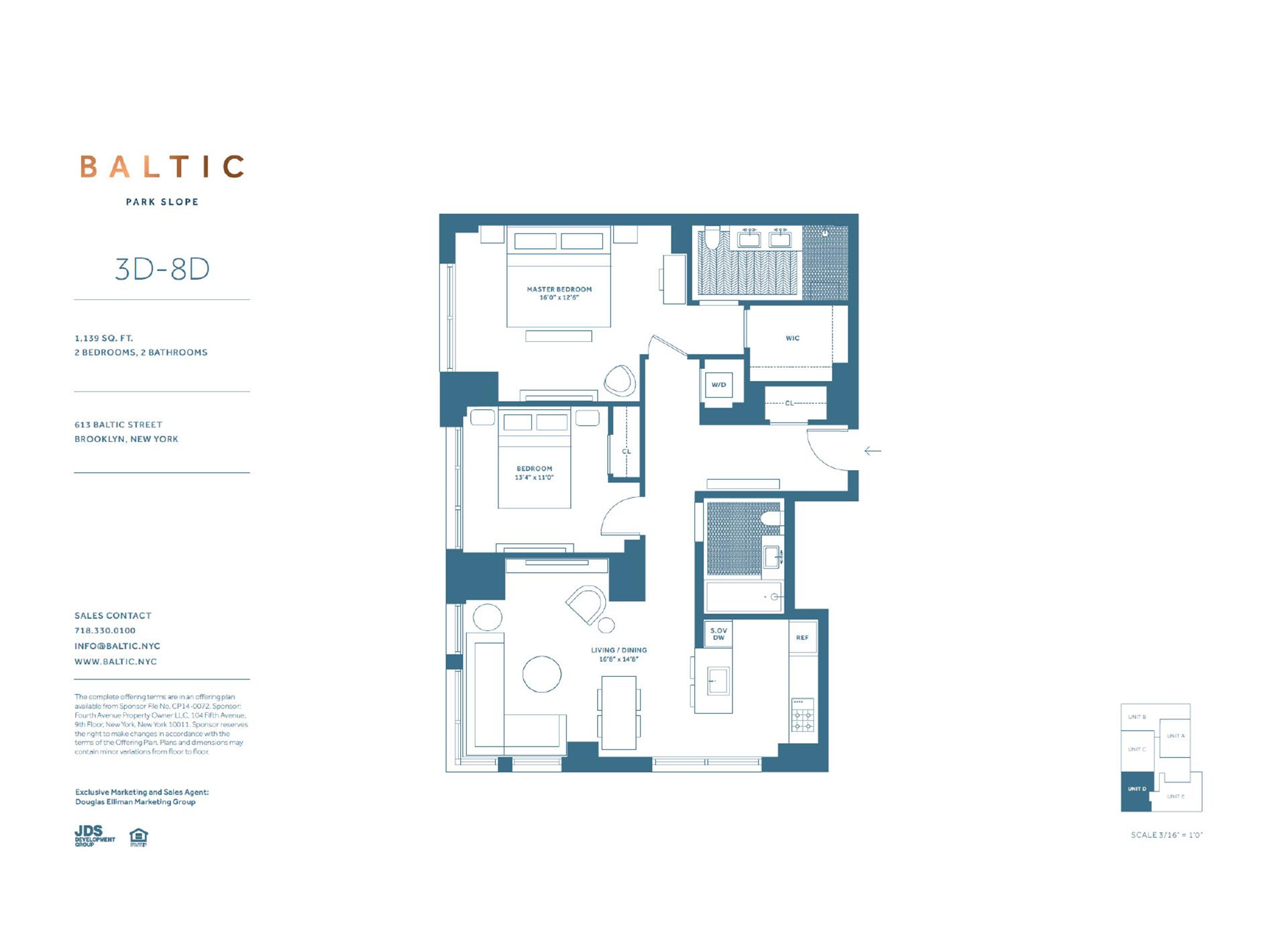 Floor plan of 613 Baltic St, 4D - Park Slope, New York