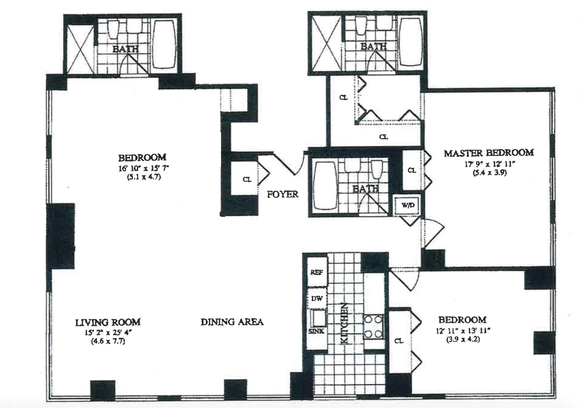 Floor plan of The Mondrian, 250 East 54th St, 35D - Midtown, New York