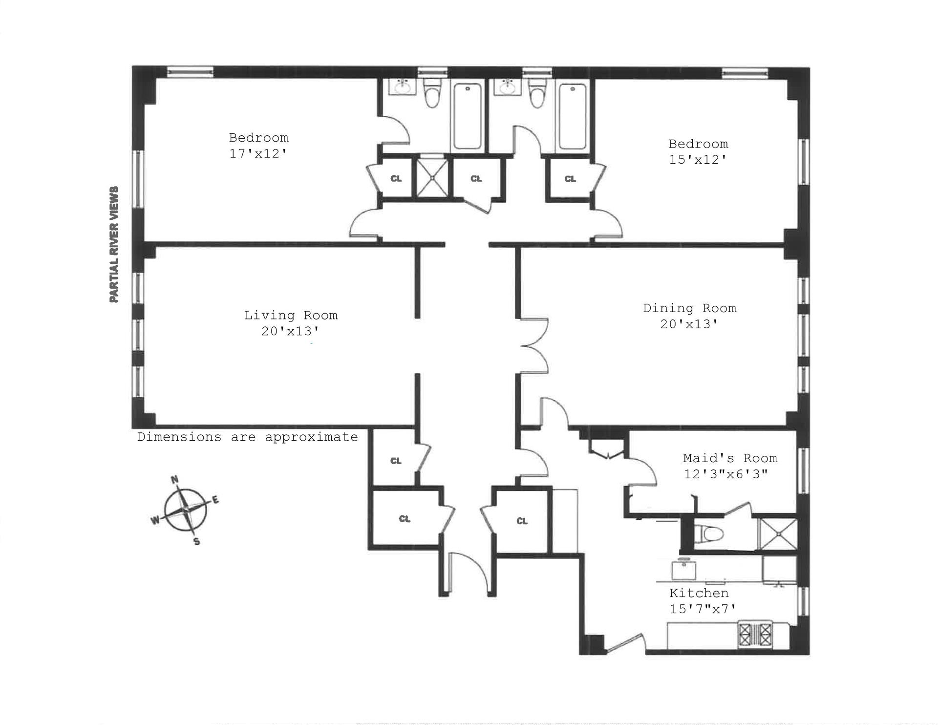 Floor plan of 221 West 82nd St, 15G - Upper West Side, New York