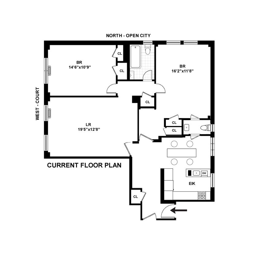 Floor plan of THE ARMSTEAD, 245 West 104th St, 16E - Upper West Side, New York