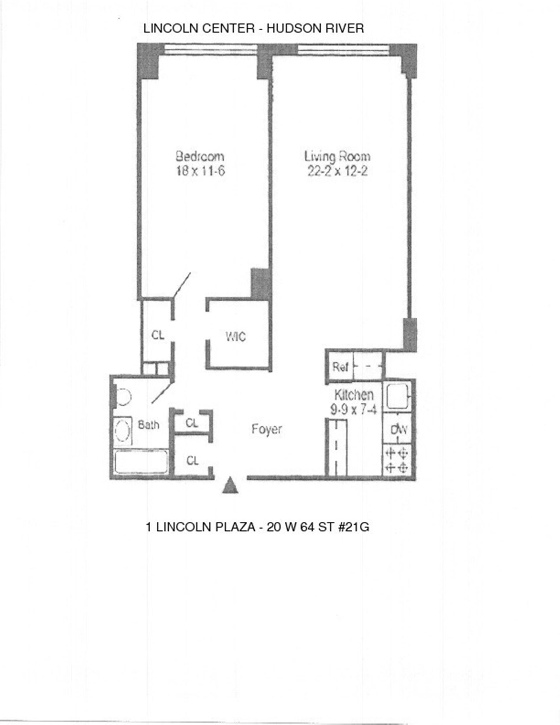 Floor plan of ONE LINCOLN PLAZA, 20 West 64th St, 21G - Lincoln Square, New York