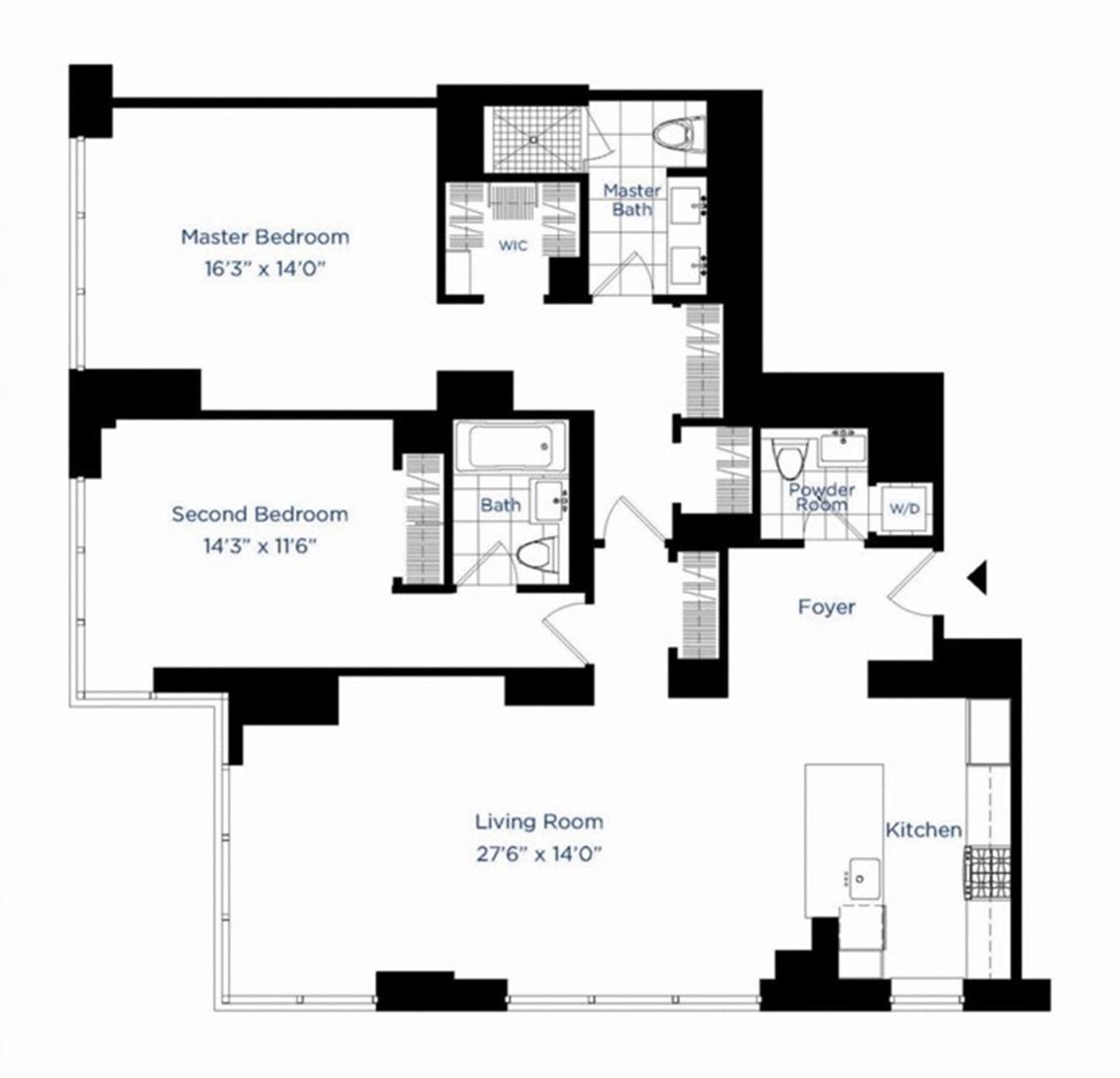 Floor plan of AZURE, 333 East 91st St, 29D - Upper East Side, New York