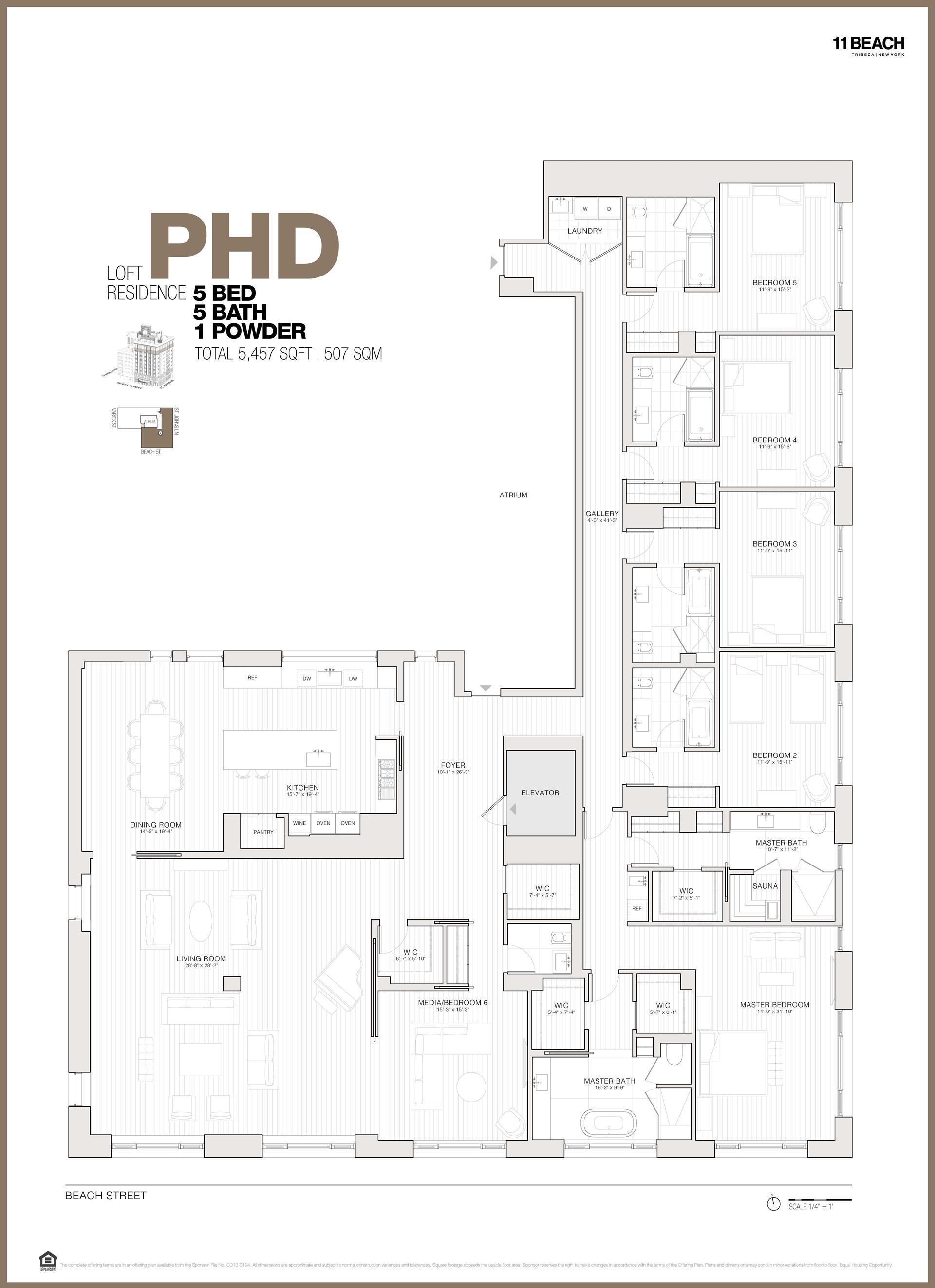 Floor plan of 11 Beach St, PHD - TriBeCa, New York