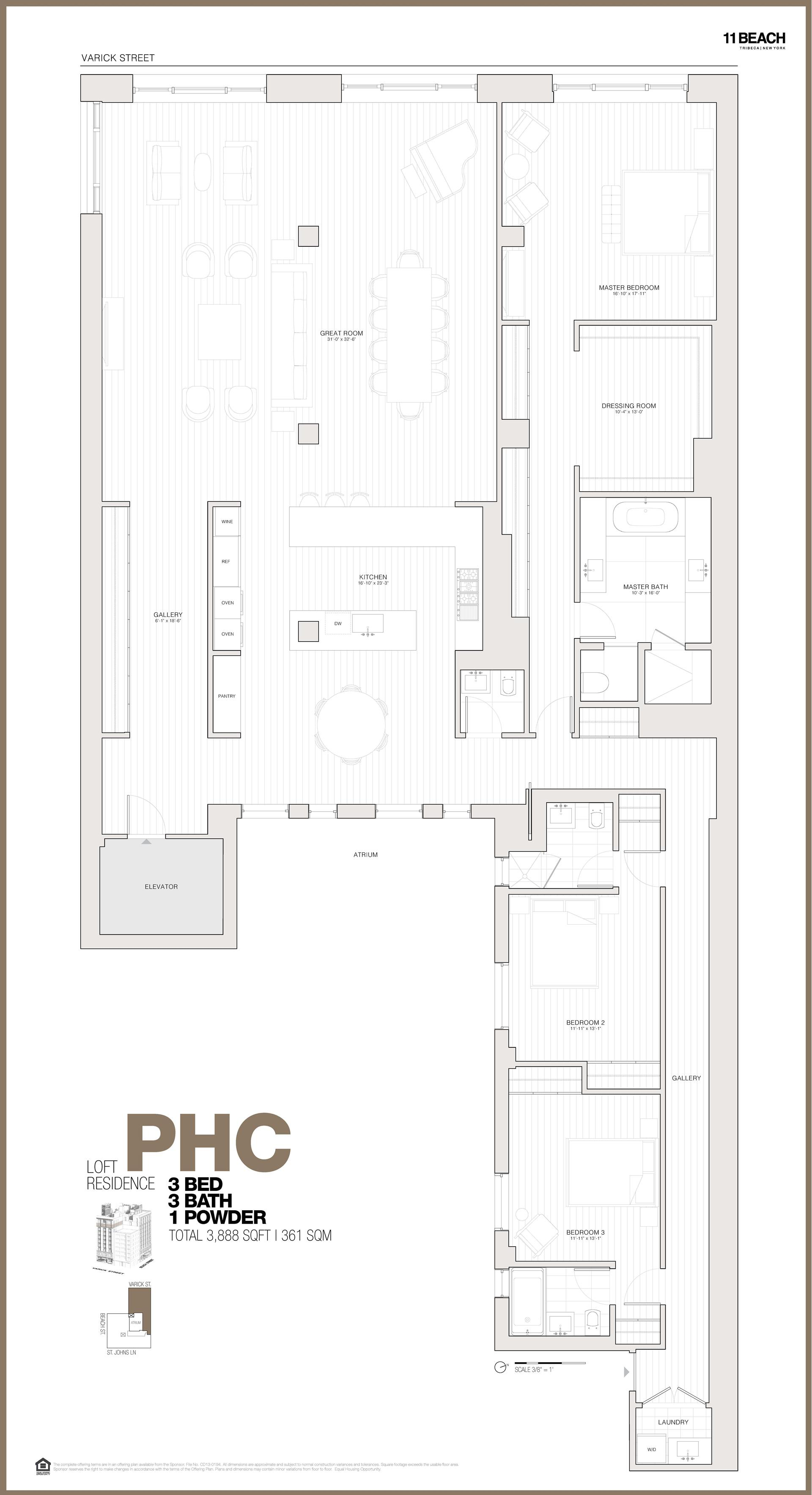 Floor plan of 11 Beach St, PHC - TriBeCa, New York