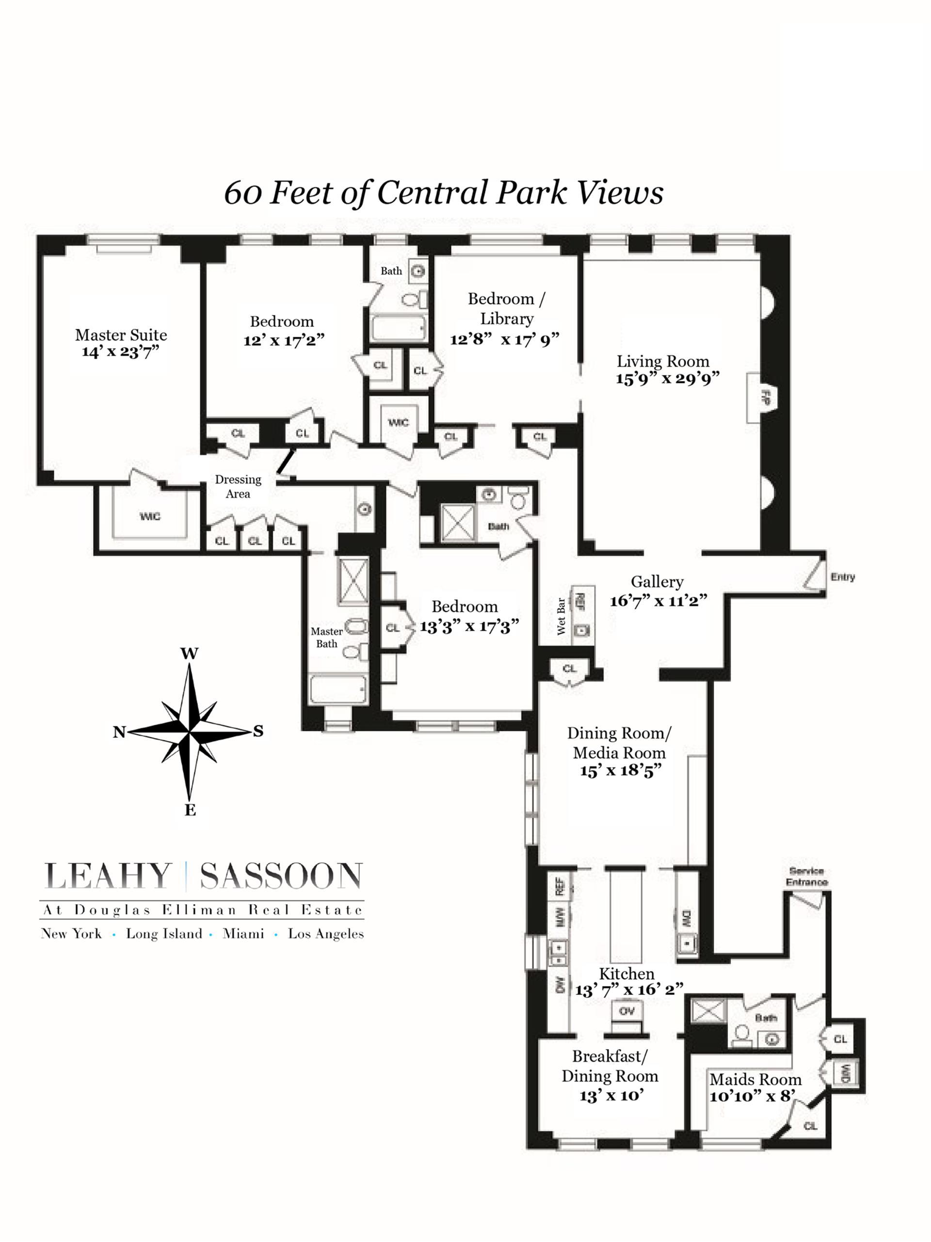 Floor plan of 101 Central Park West, 10E - Upper West Side, New York