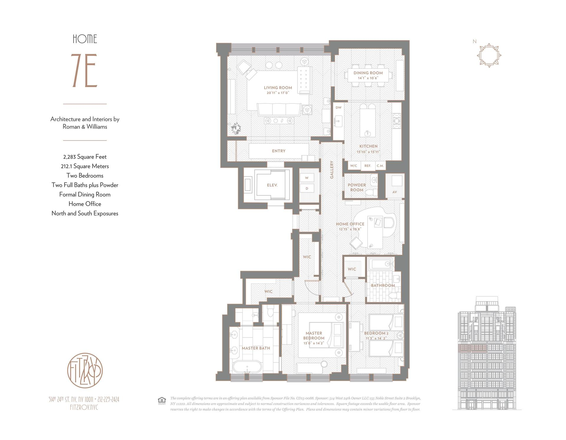 Floor plan of The Fitzroy, 514 West 24th St, 7E - Chelsea, New York