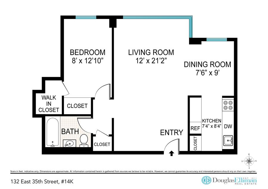 Floor plan of 132 East 35th St, 14K - Murray Hill, New York