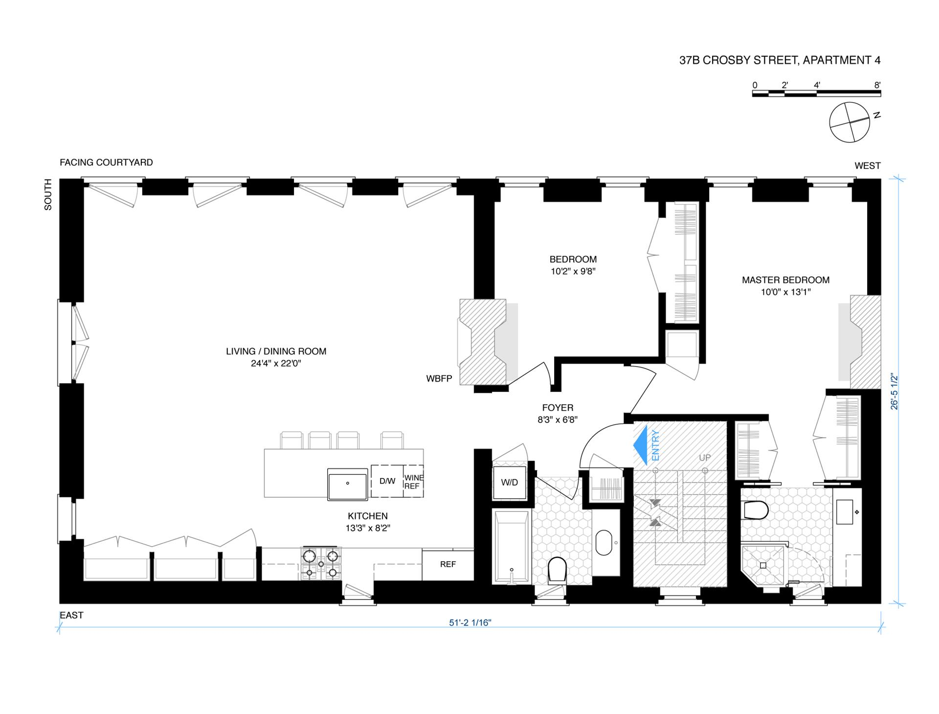 Floor plan of 37B Crosby St, 4 - SoHo - Nolita, New York