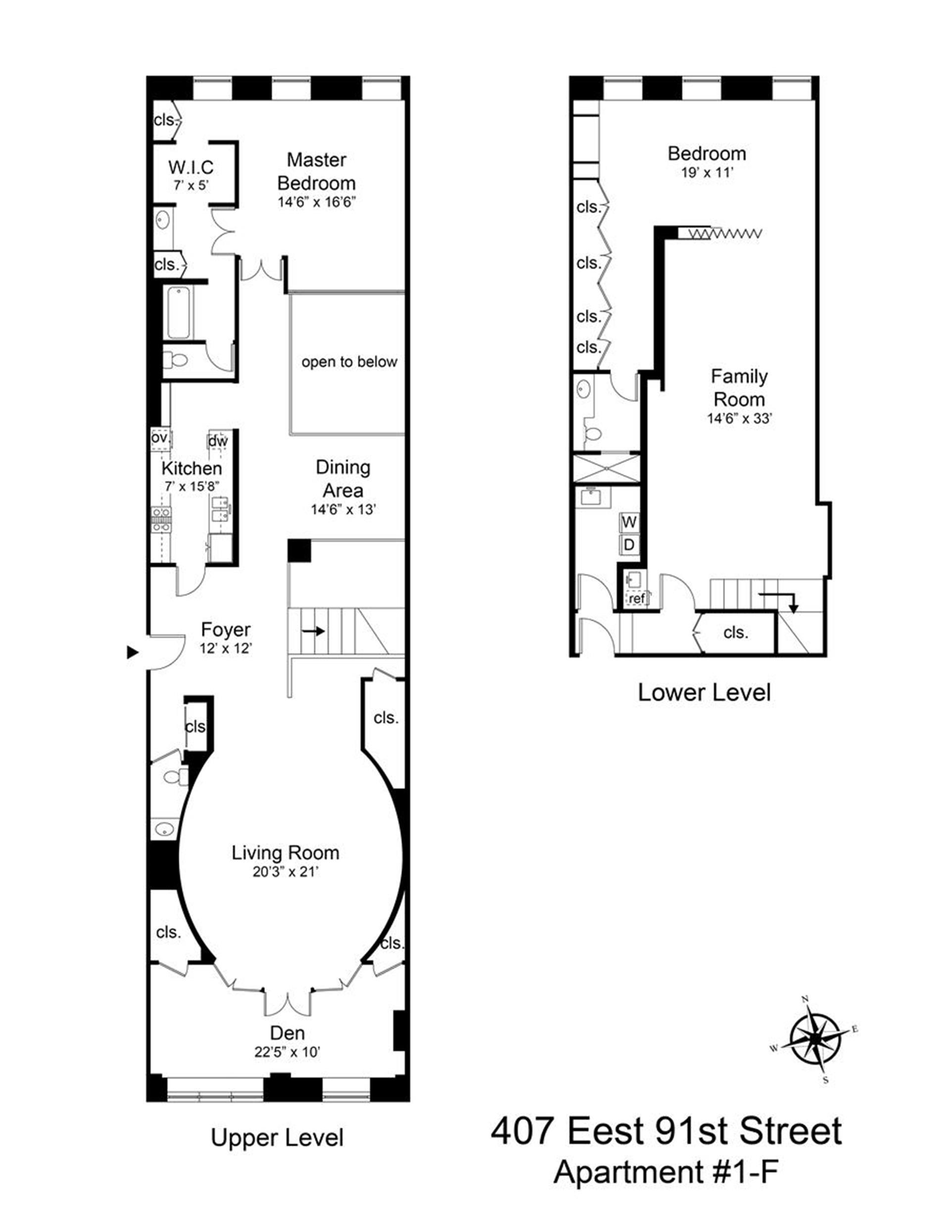 Floor plan of 407 East 91st St, 1F - Upper East Side, New York