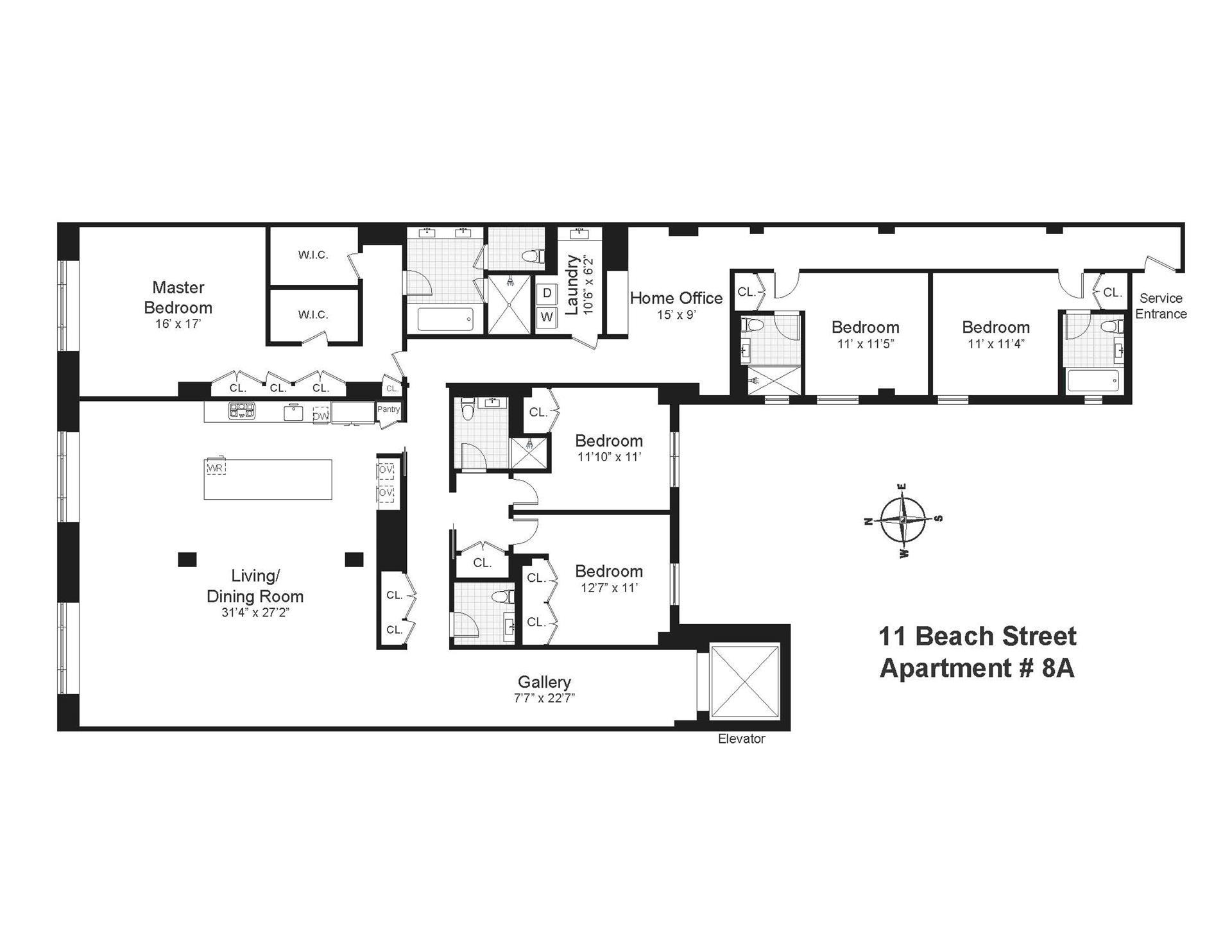 Floor plan of 11 Beach St, 8A - TriBeCa, New York
