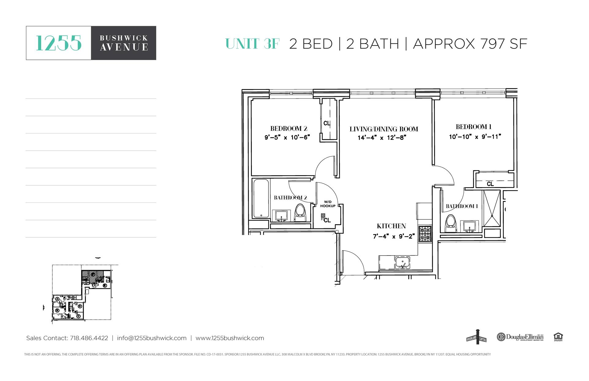 Floor plan of 1255 Bushwick Avenue, 3F - Bushwick, New York