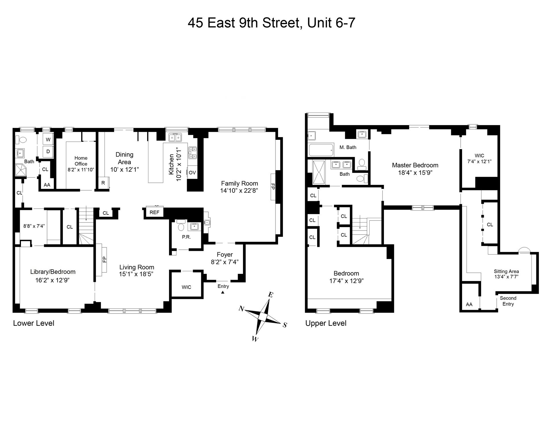 Floor plan of 29-45 Tenants Corp. *, 45 East 9th St, 6/7 - Greenwich Village, New York