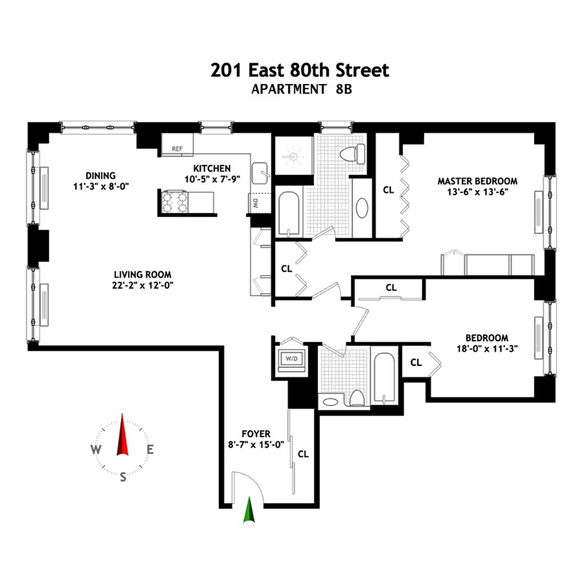 Floor plan of The Richmond, 201 East 80th St, 8B - Upper East Side, New York