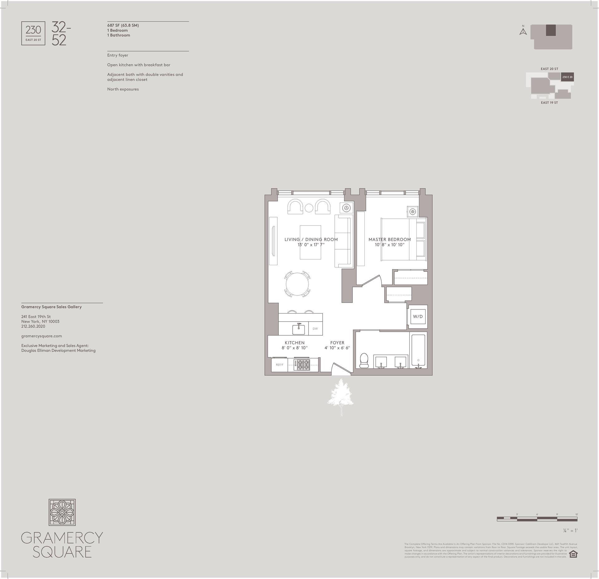 Floor plan of Gramercy Square, 230 East 20th St, 52 - Gramercy - Union Square, New York