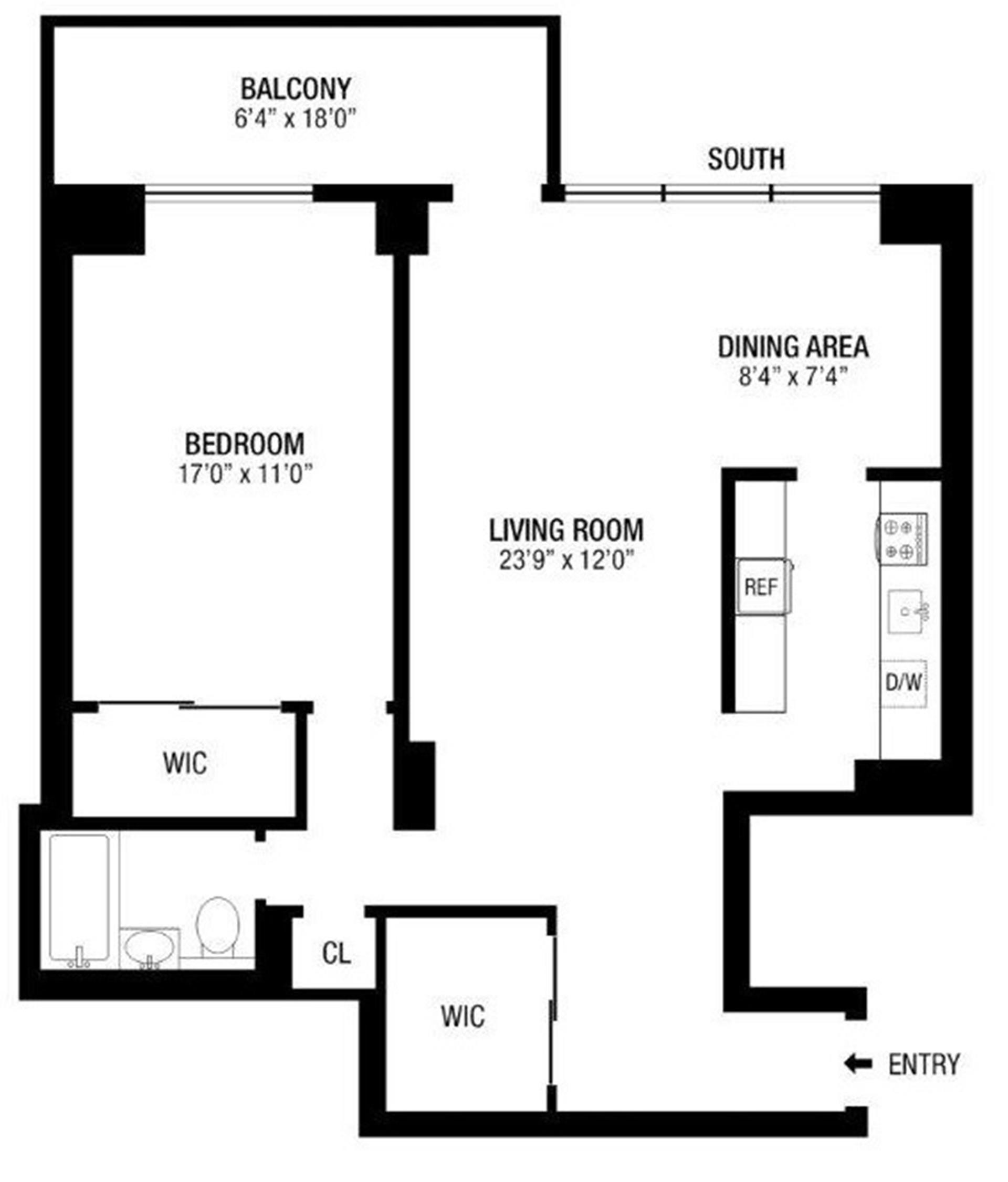 Floor plan of 382 Central Park West, 14W - Upper West Side, New York