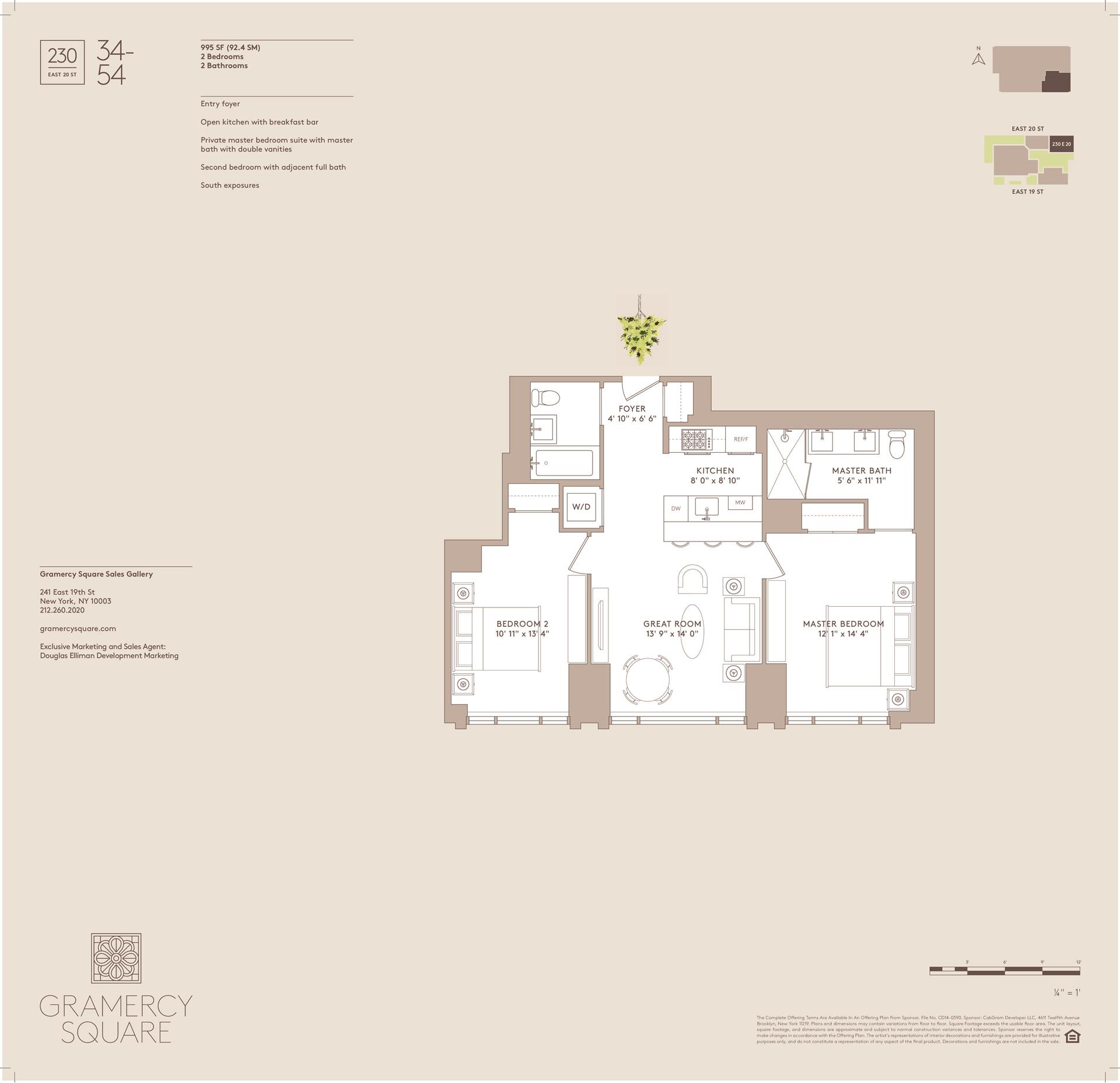 Floor plan of Gramercy Square, 230 East 20th St, 34 - Gramercy - Union Square, New York