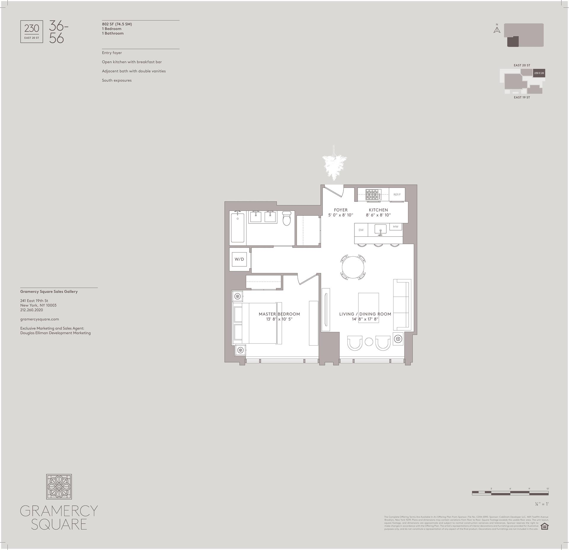 Floor plan of Gramercy Square, 230 East 20th St, 56 - Gramercy - Union Square, New York