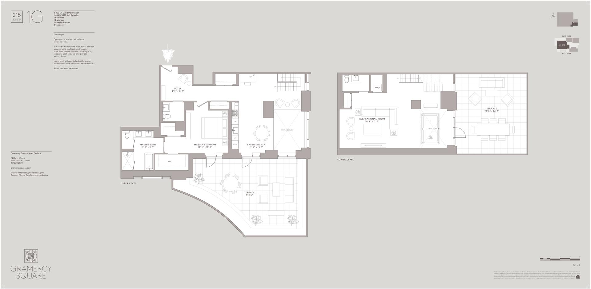 Floor plan of Gramercy Square, 215 East 19th St, 1G - Gramercy - Union Square, New York