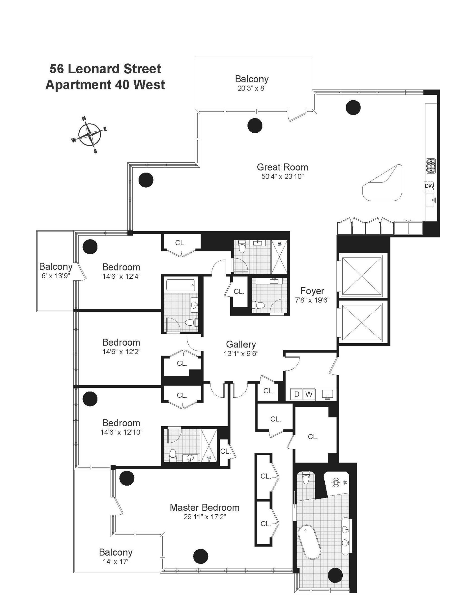 Floor plan of 56 Leonard St, 40WEST - TriBeCa, New York