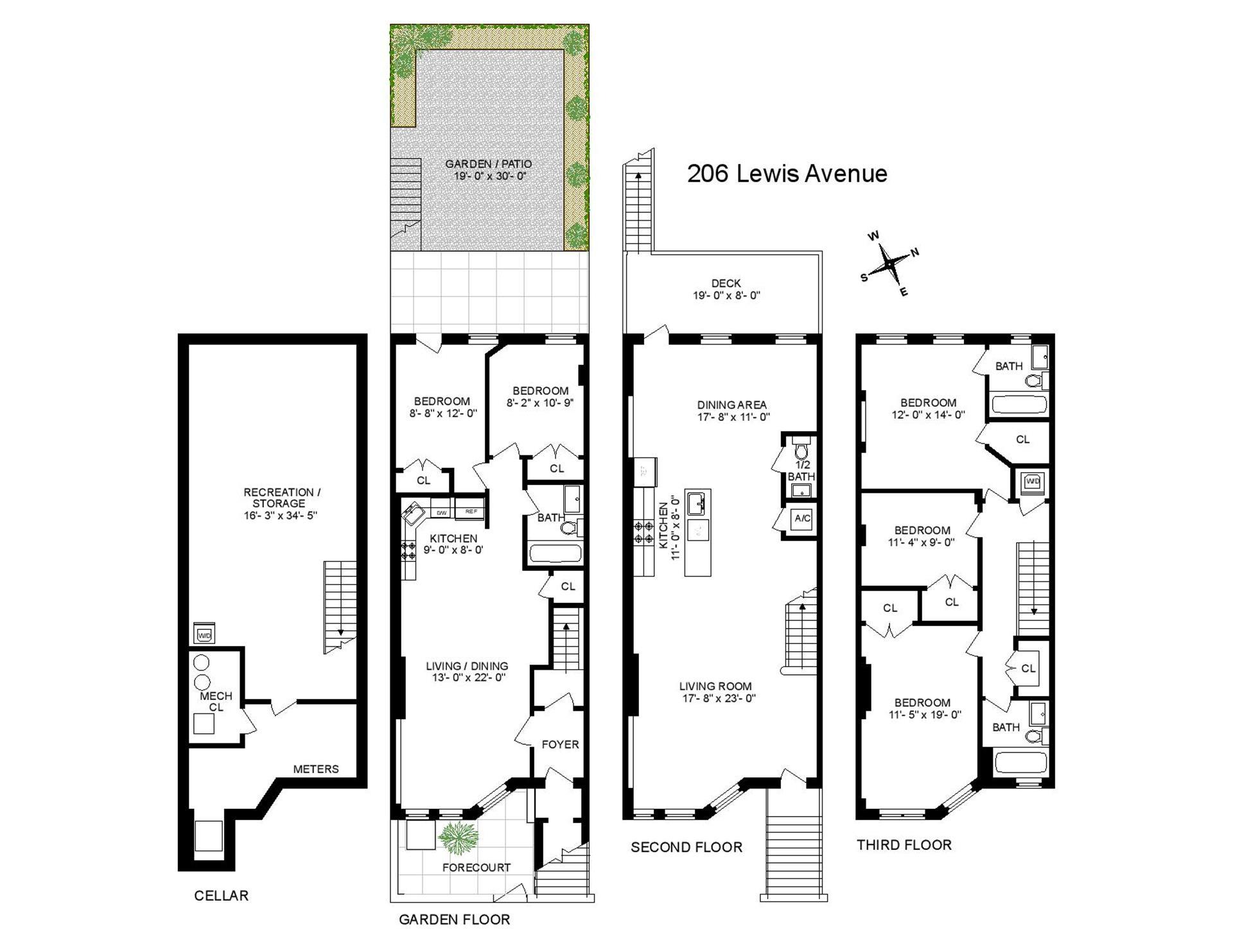Floor plan of 206 Lewis Avenue - Bedford - Stuyvesant, New York