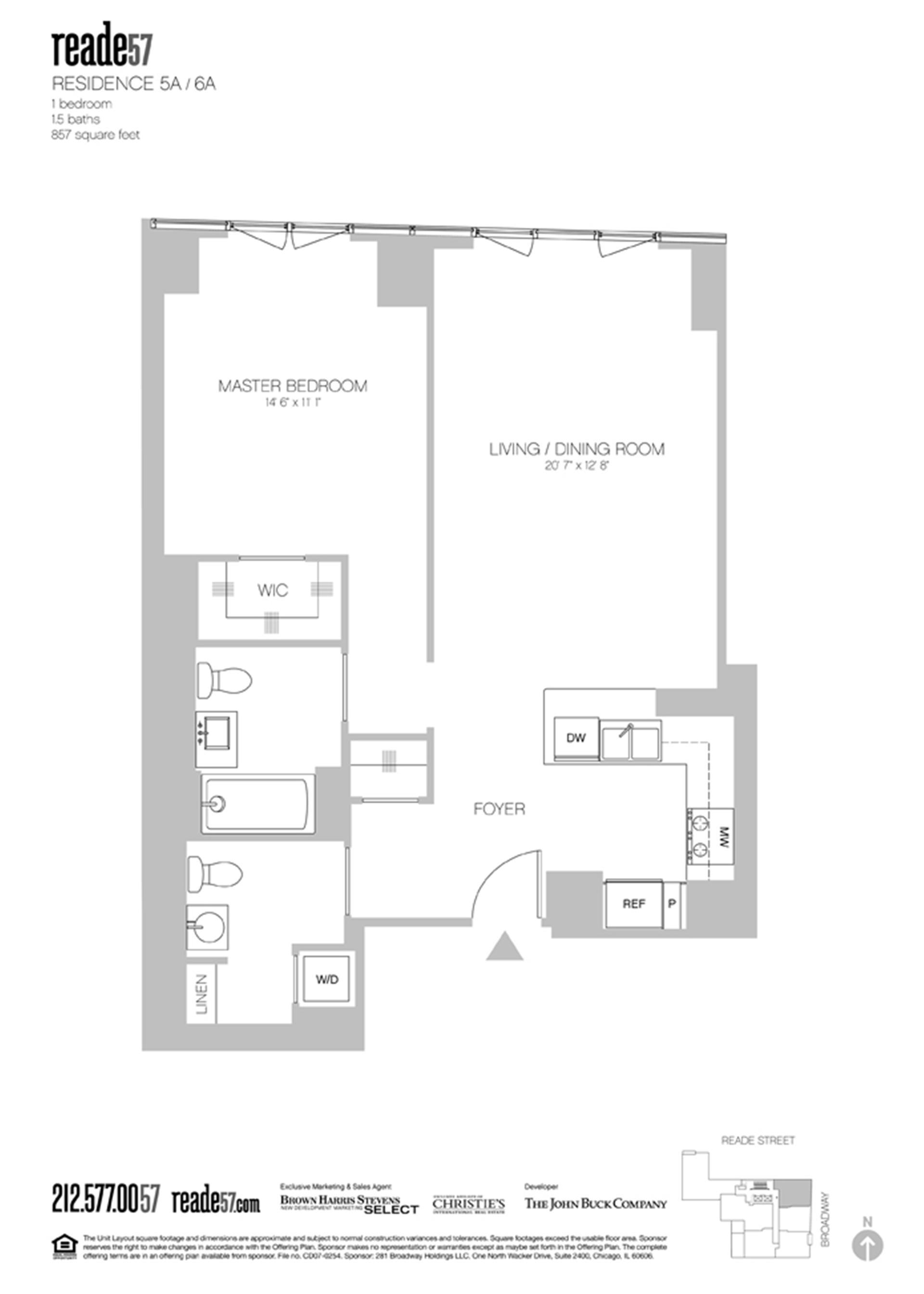 Floor plan of 57 Reade St, 6A - TriBeCa, New York