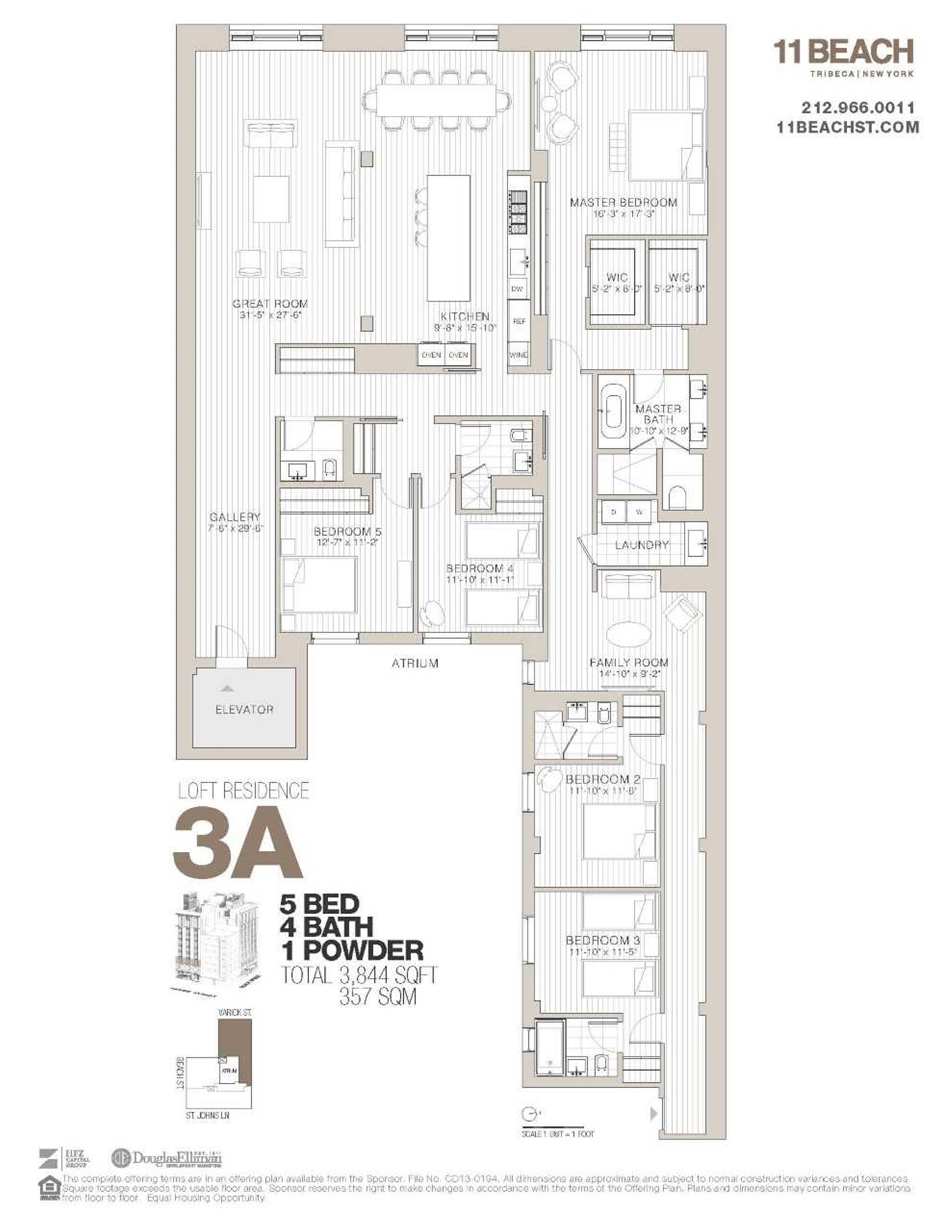 Floor plan of 11 Beach St, 3A - TriBeCa, New York