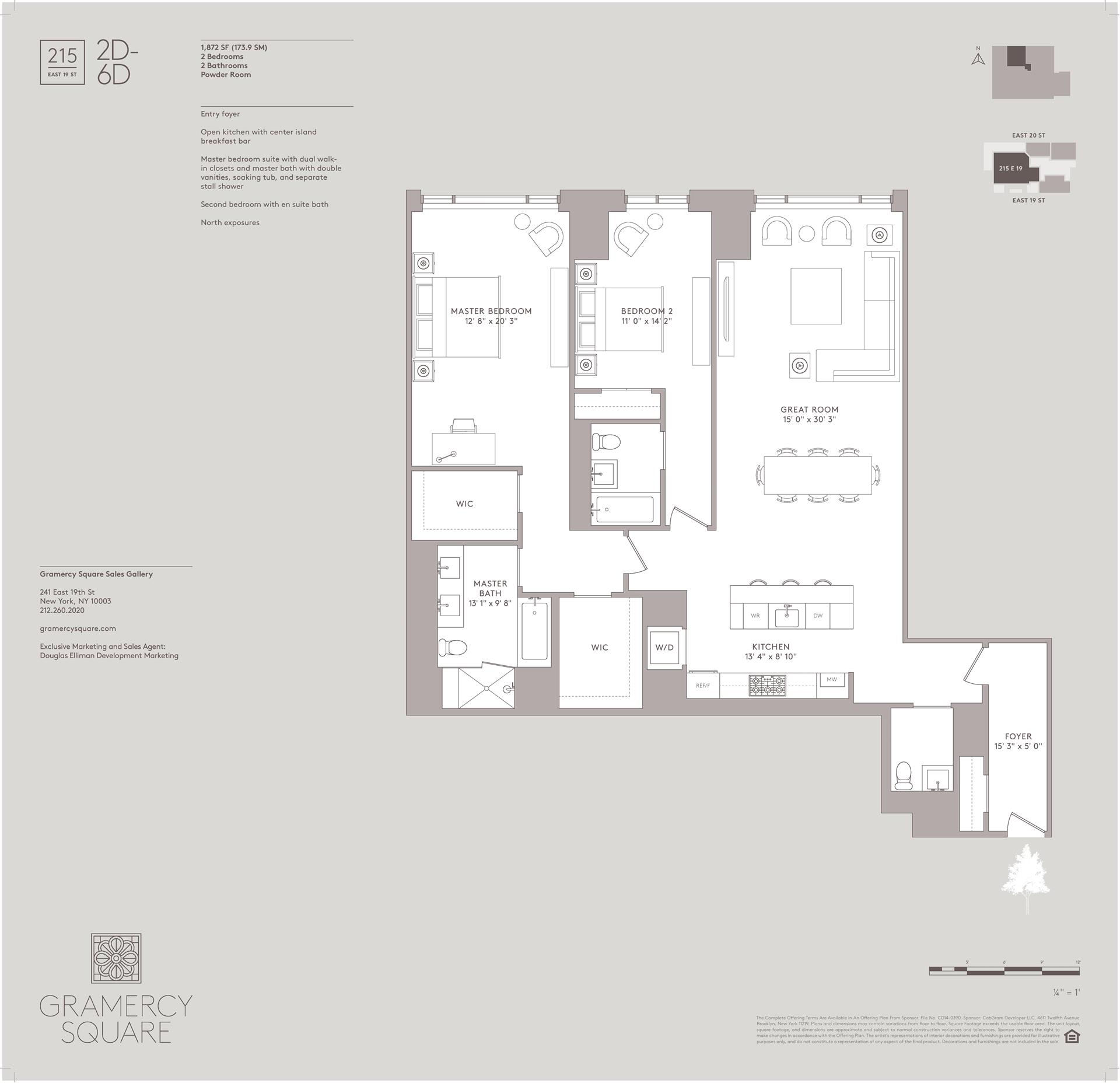Floor plan of Gramercy Square, 215 East 19th St, 6D - Gramercy - Union Square, New York