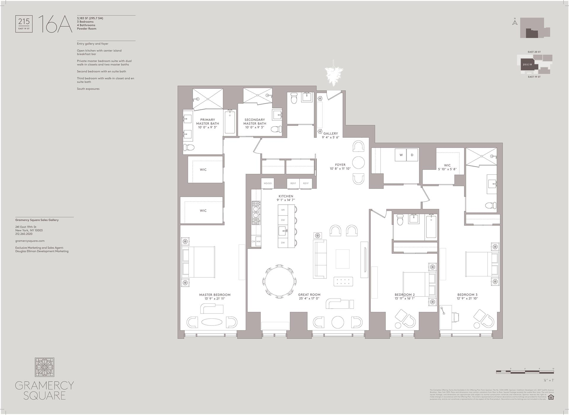 Floor plan of Gramercy Square, 215 East 19th St, 16A - Gramercy - Union Square, New York