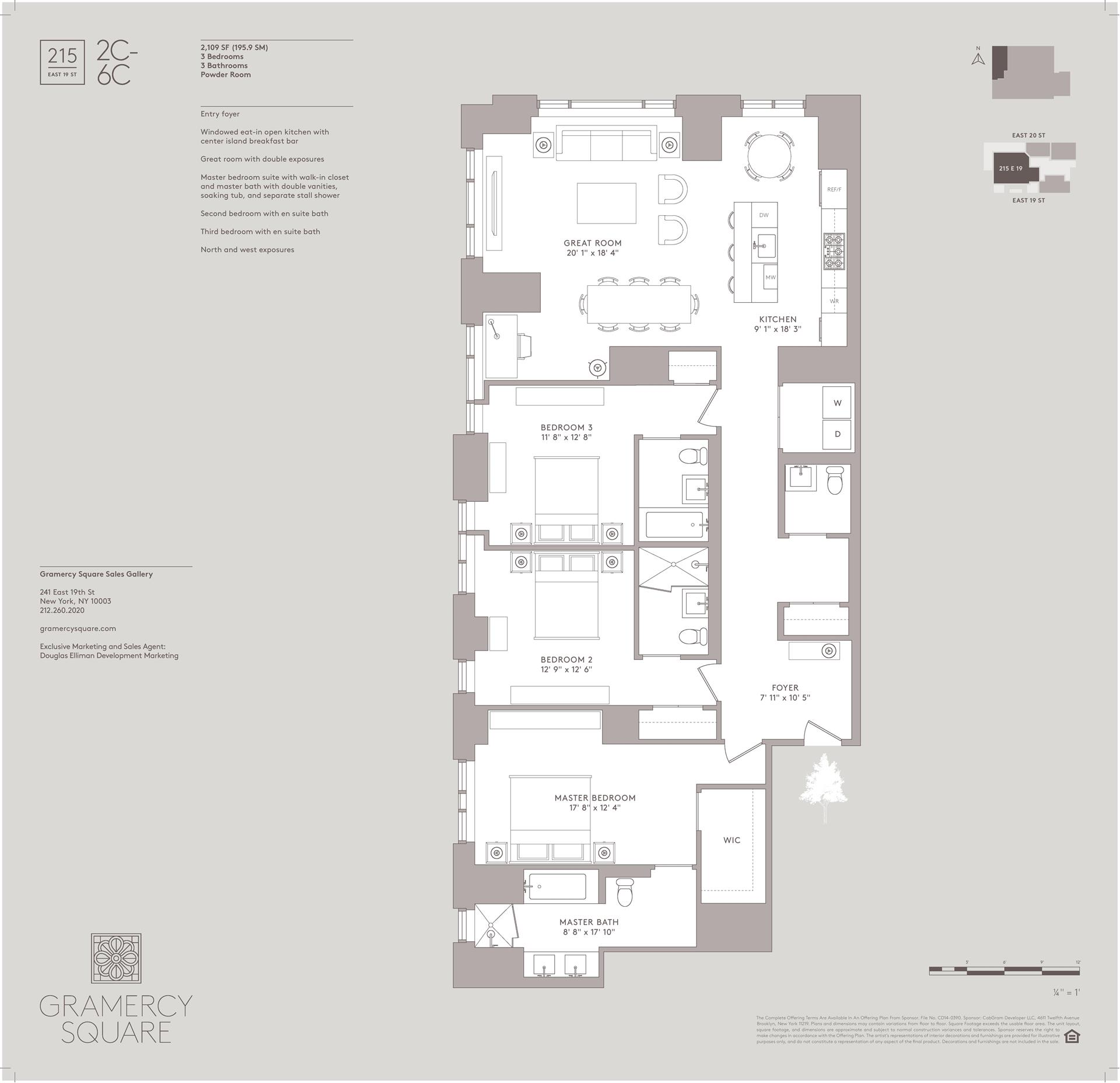 Floor plan of Gramercy Square, 215 East 19th St, 3C - Gramercy - Union Square, New York