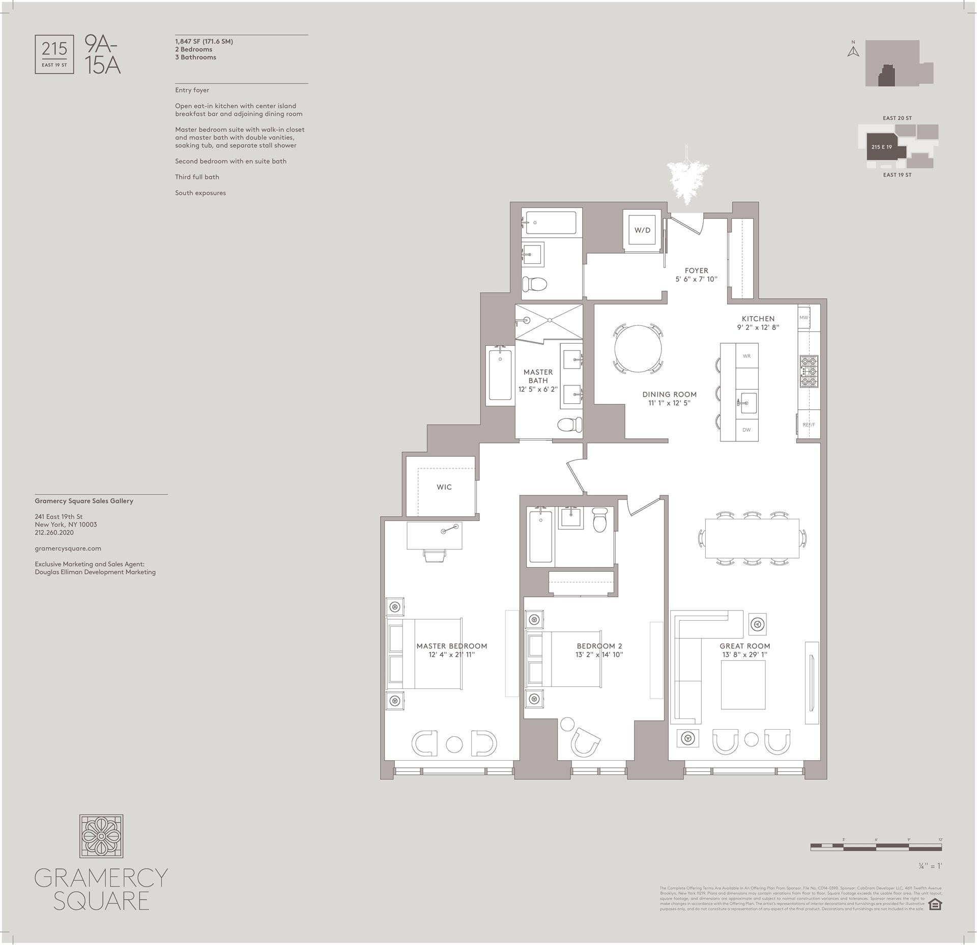 Floor plan of Gramercy Square, 215 East 19th St, 14A - Gramercy - Union Square, New York