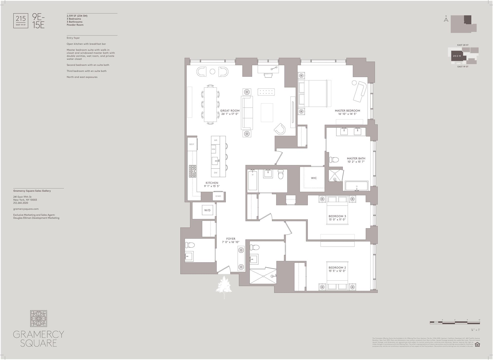 Floor plan of Gramercy Square, 215 East 19th St, 10E - Gramercy - Union Square, New York