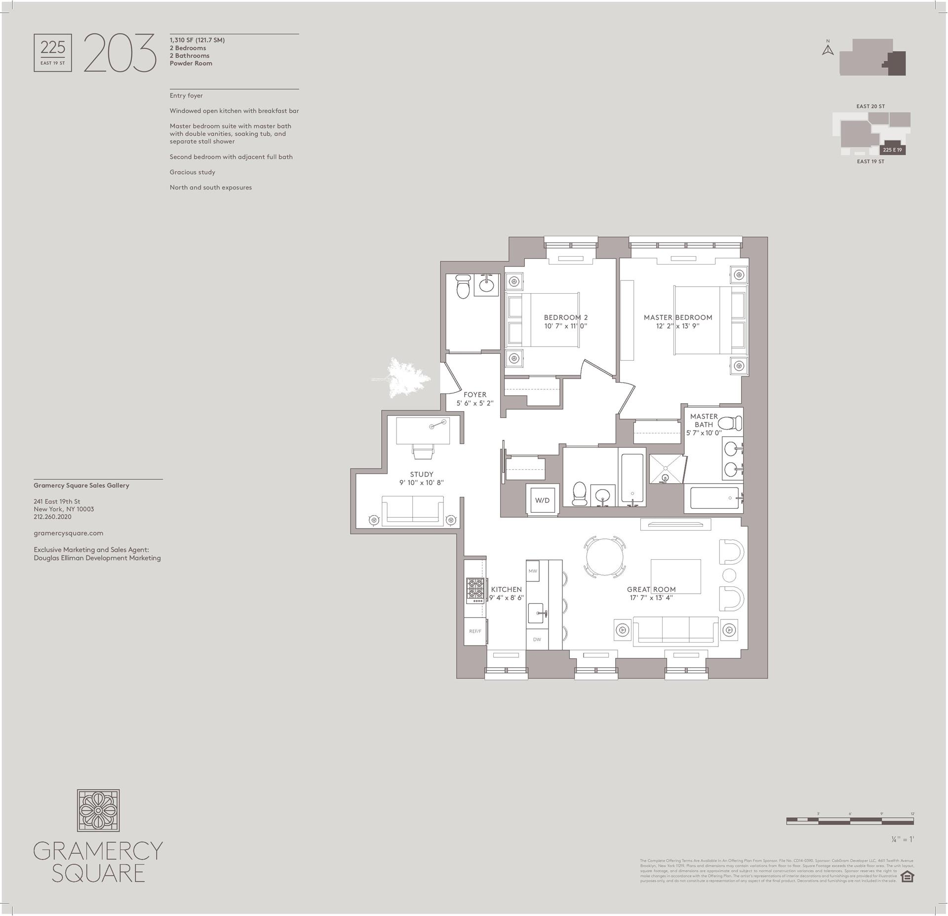 Floor plan of Gramercy Square, 225 East 19th St, 203 - Gramercy - Union Square, New York