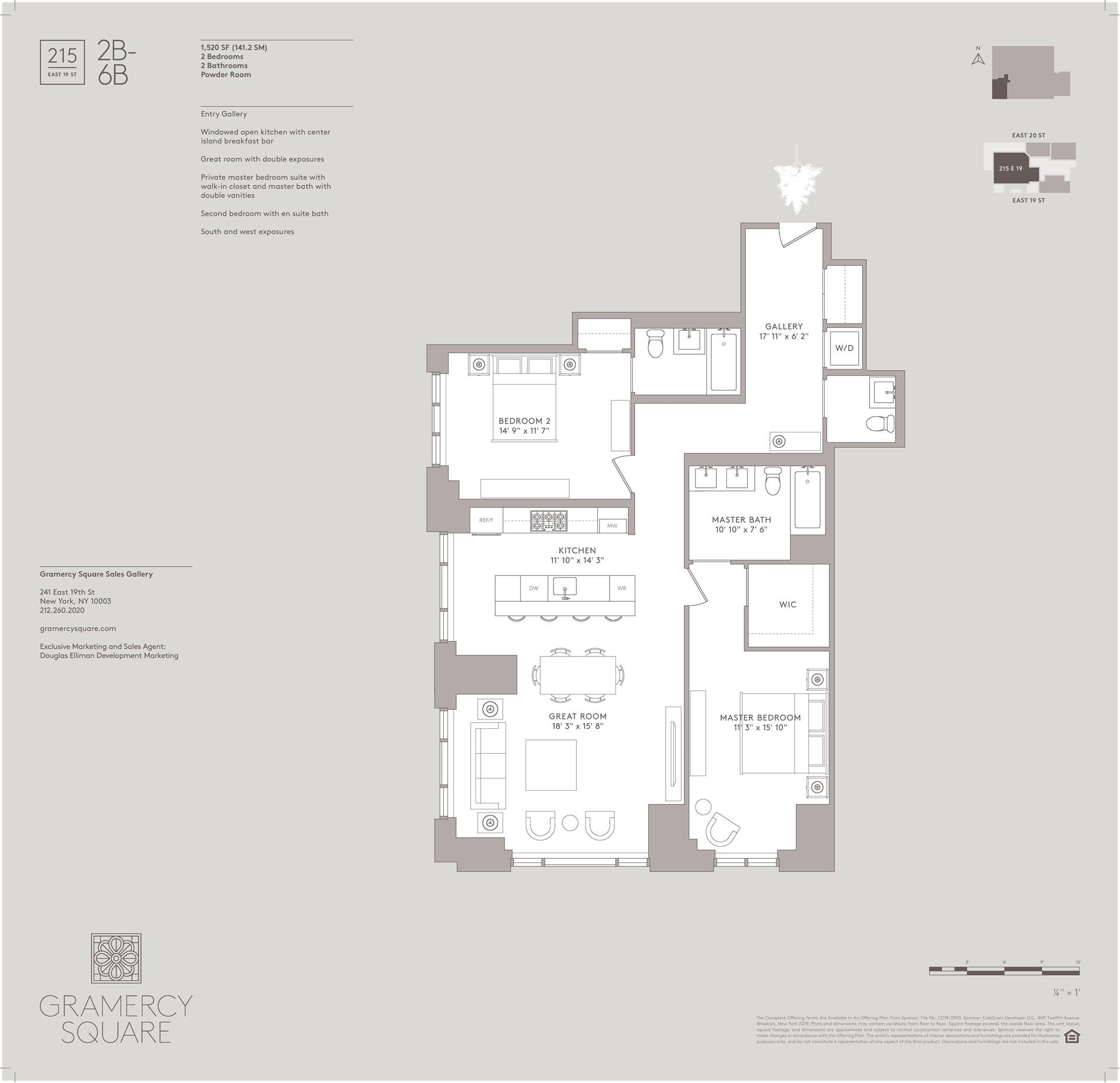 Floor plan of Gramercy Square, 215 East 19th St, 2B - Gramercy - Union Square, New York