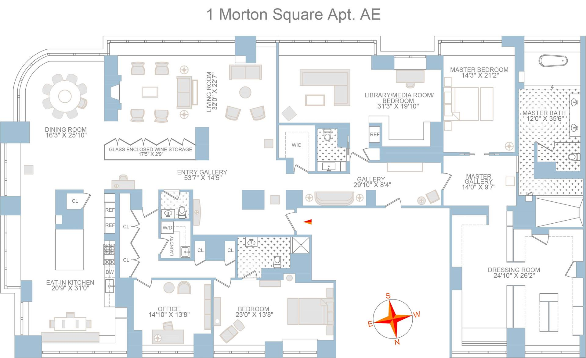 Floor plan of 1 Morton Square, PHAE - West Village - Meatpacking District, New York