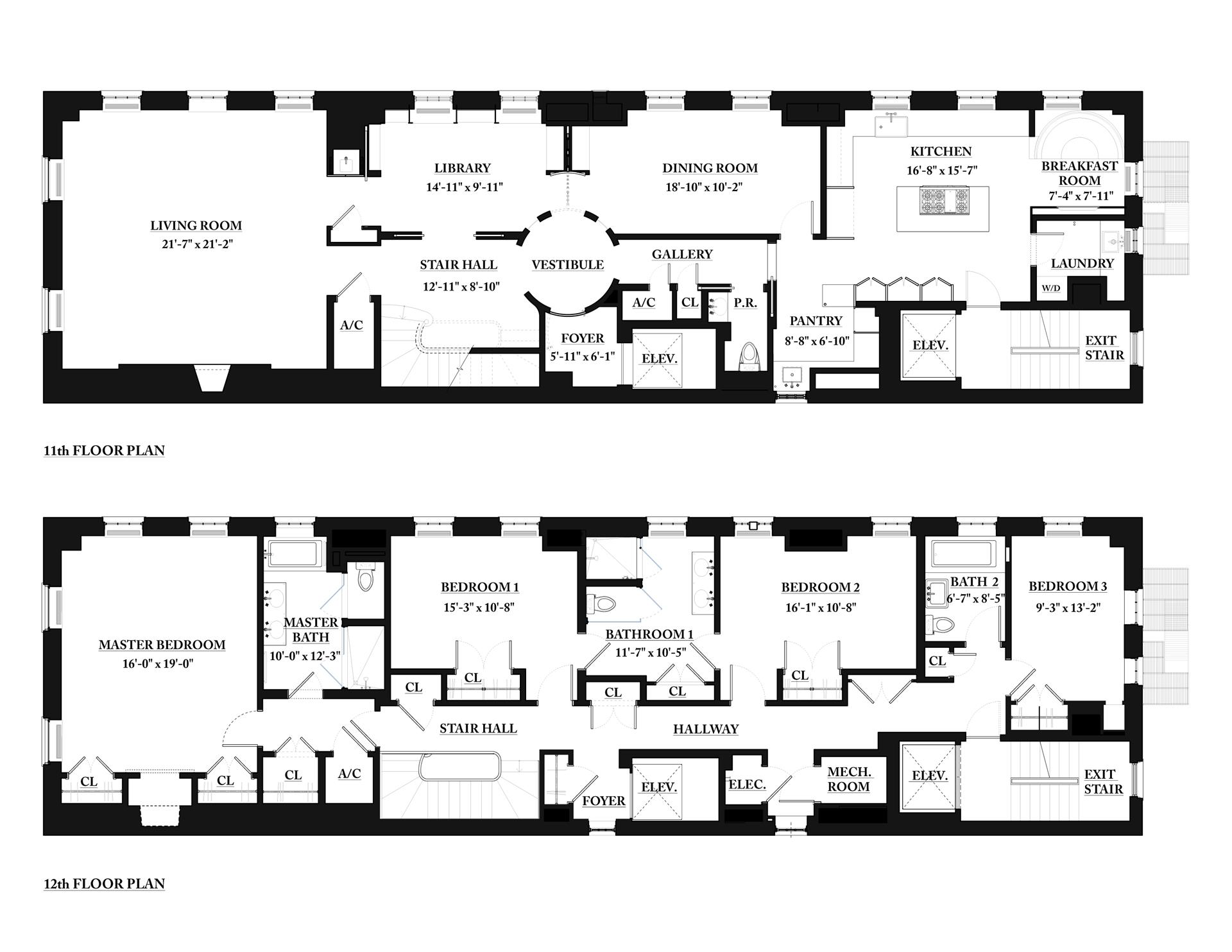 Floor plan of Fifth - 78th Corp., 969 Fifth Avenue, 11/12FL - Upper East Side, New York