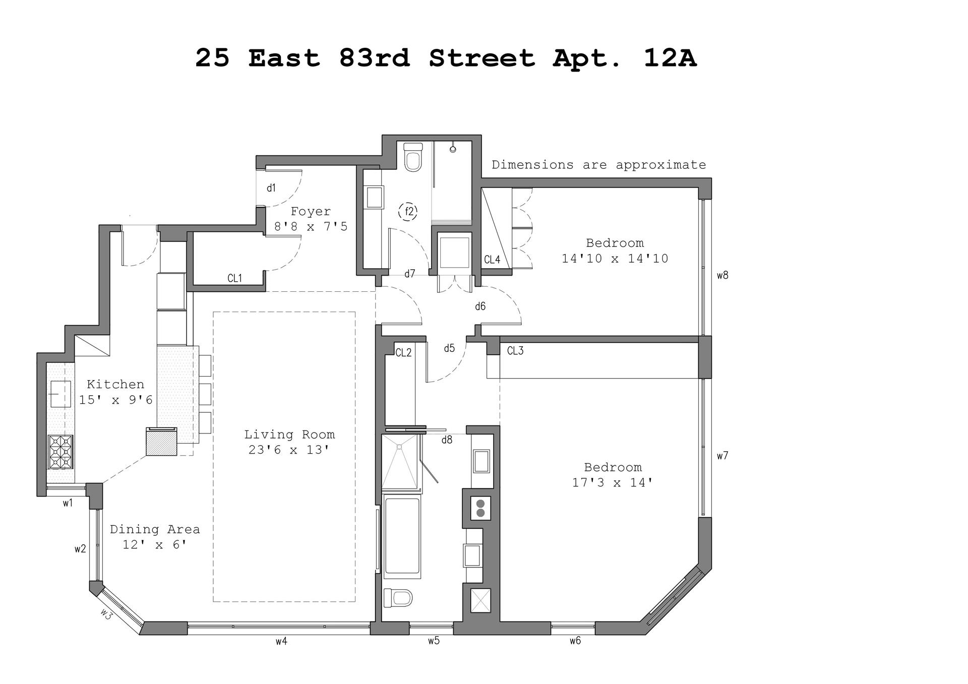 Floor plan of 25 East 83rd St, 12A - Upper East Side, New York