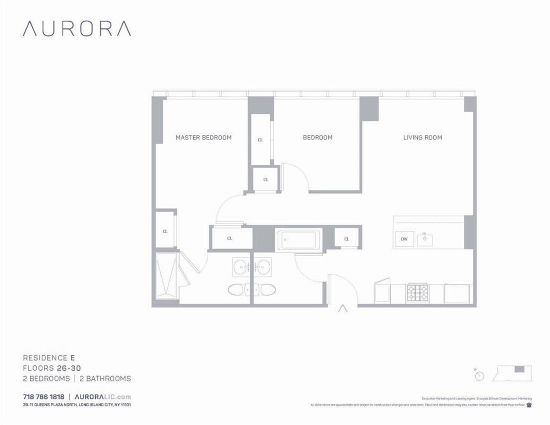 Floor plan of Aurora, 29-11 Queens Plaza North, 29E - Long Island City, New York