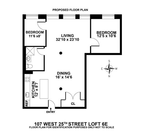 Floor plan of 107 West 25th Street, 6E
