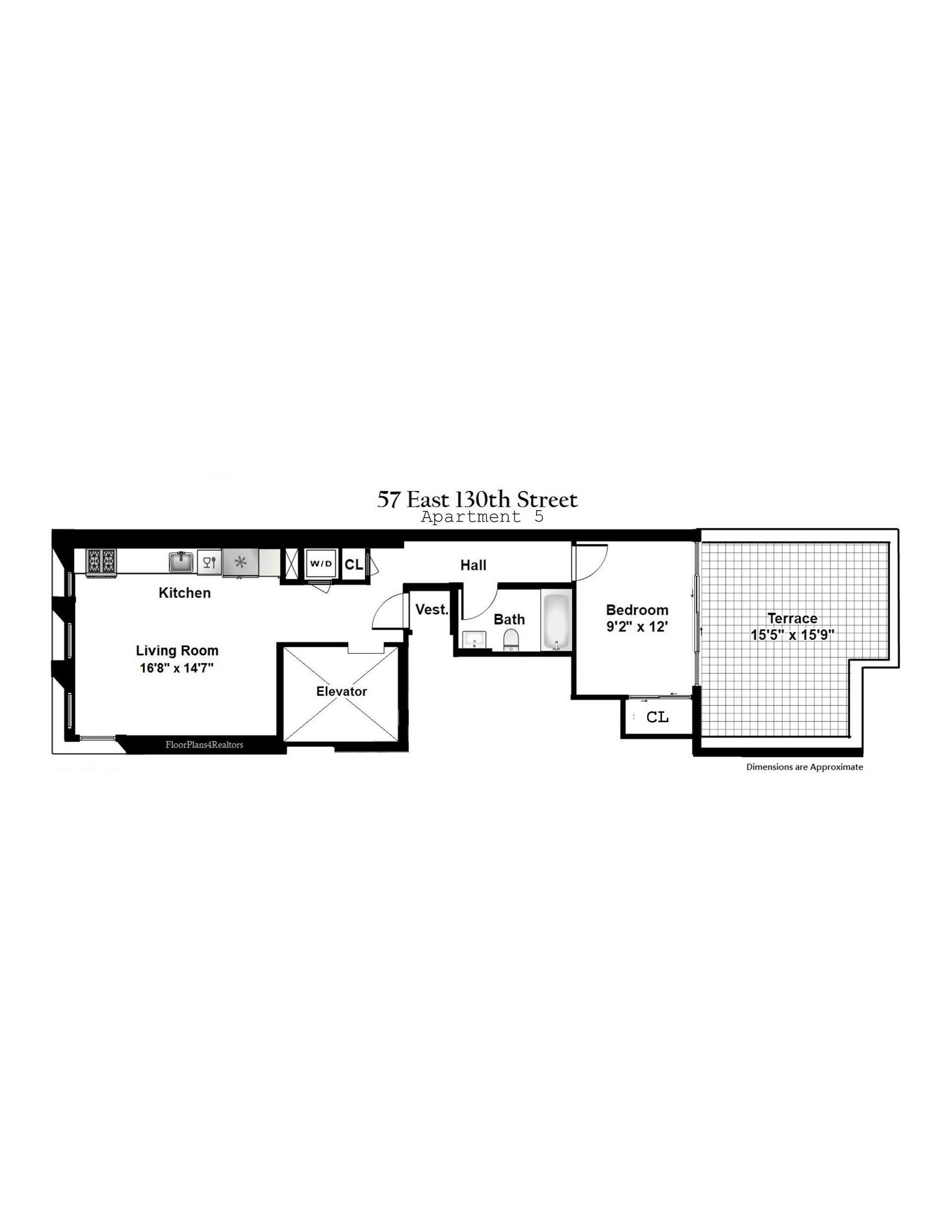 Floor plan of 57 East 130th St, 5 - Harlem, New York
