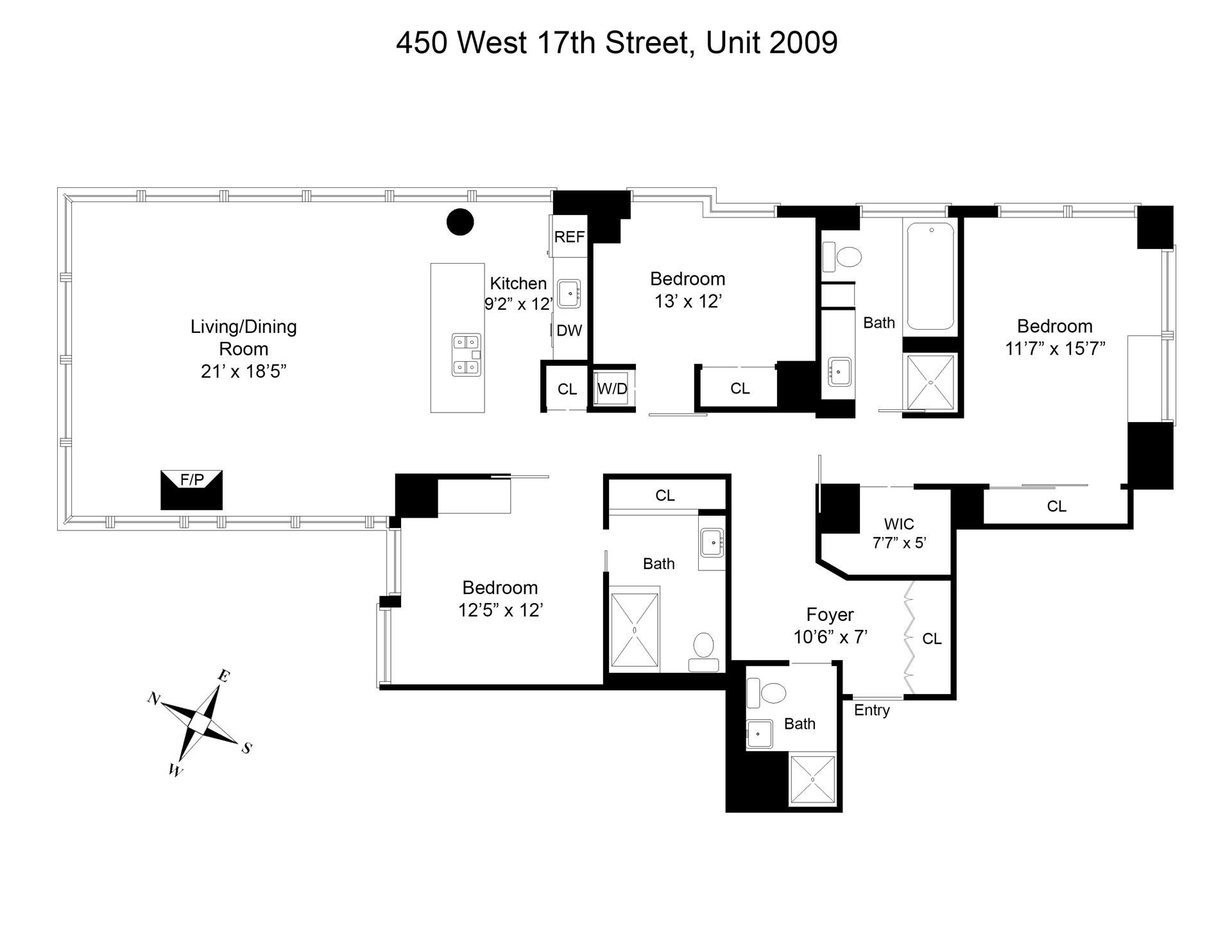 Floor plan of 450 West 17th St, 2009 - Chelsea, New York