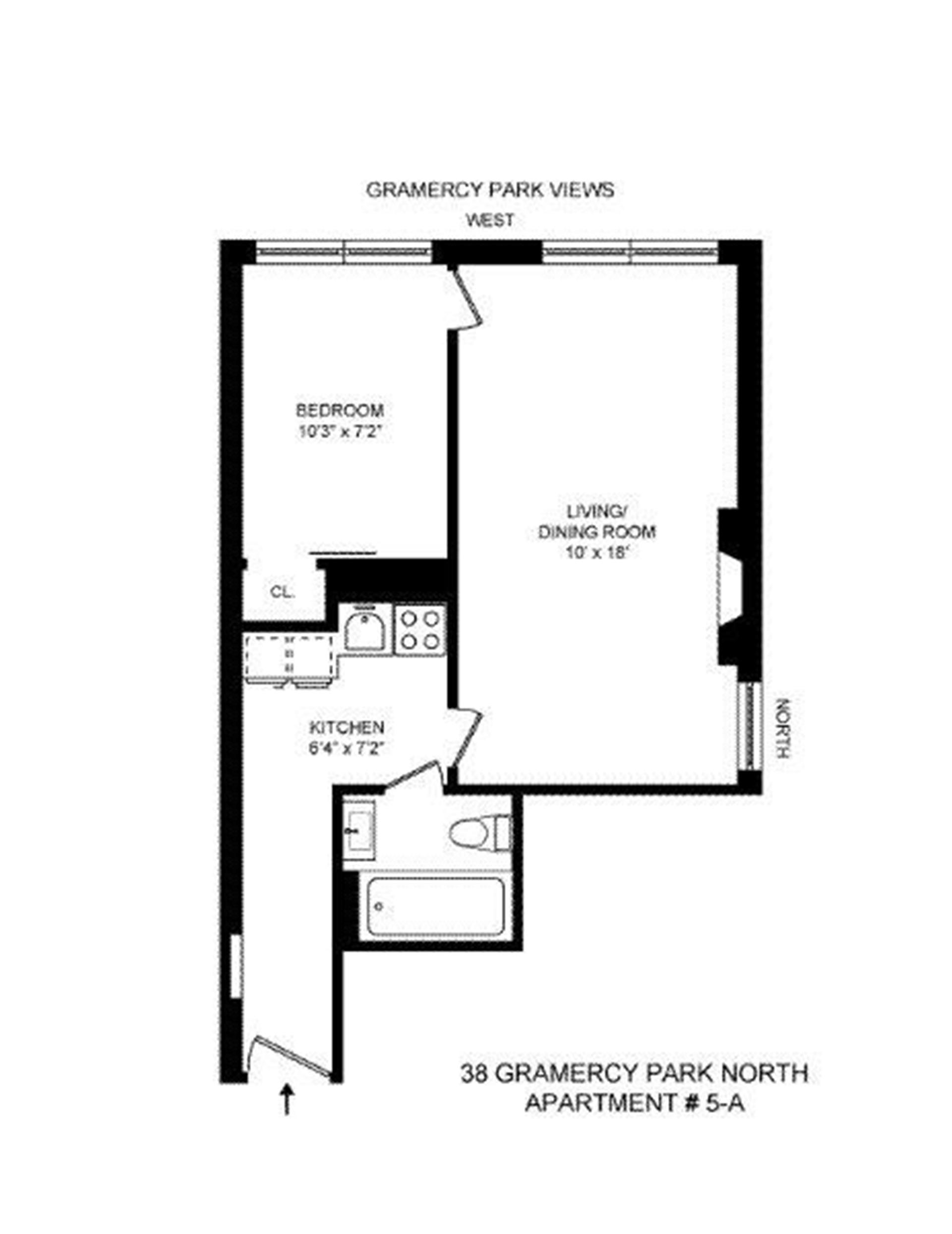 Floor plan of 38 Gramercy Park North, 5A - Gramercy - Union Square, New York