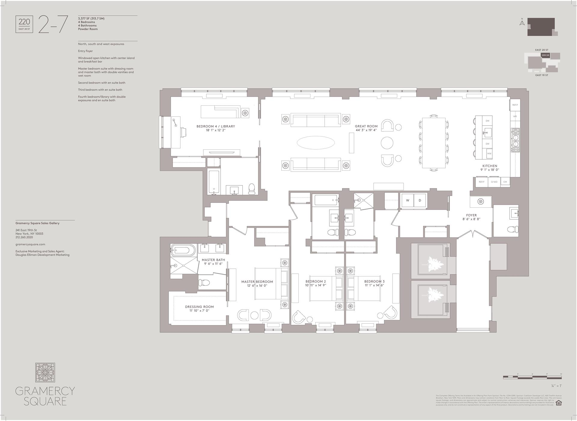 Floor plan of Gramercy Square, 220 East 20th St, 5 - Gramercy - Union Square, New York