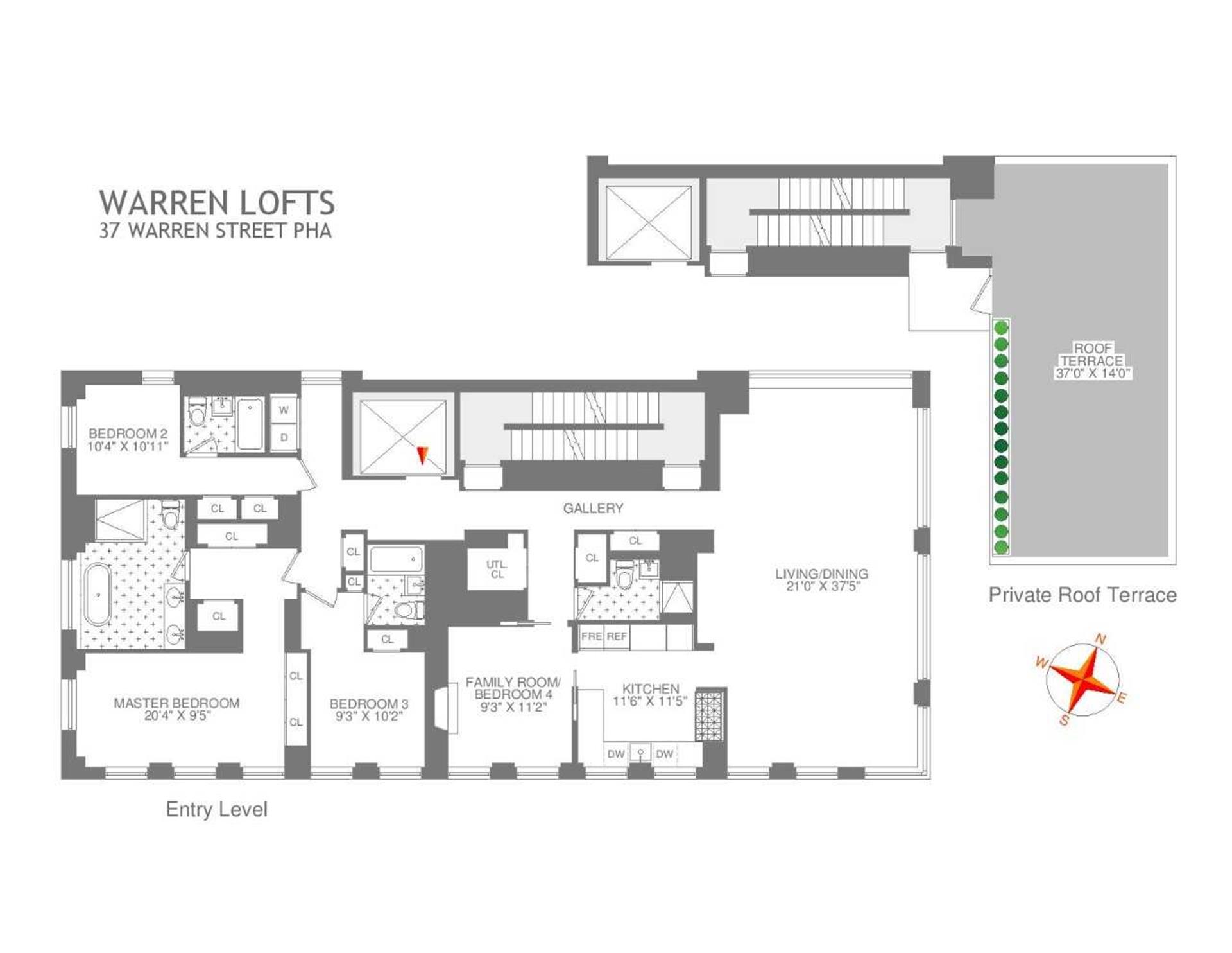 Floor plan of WARREN LOFTS, 37 Warren St, PHA - TriBeCa, New York