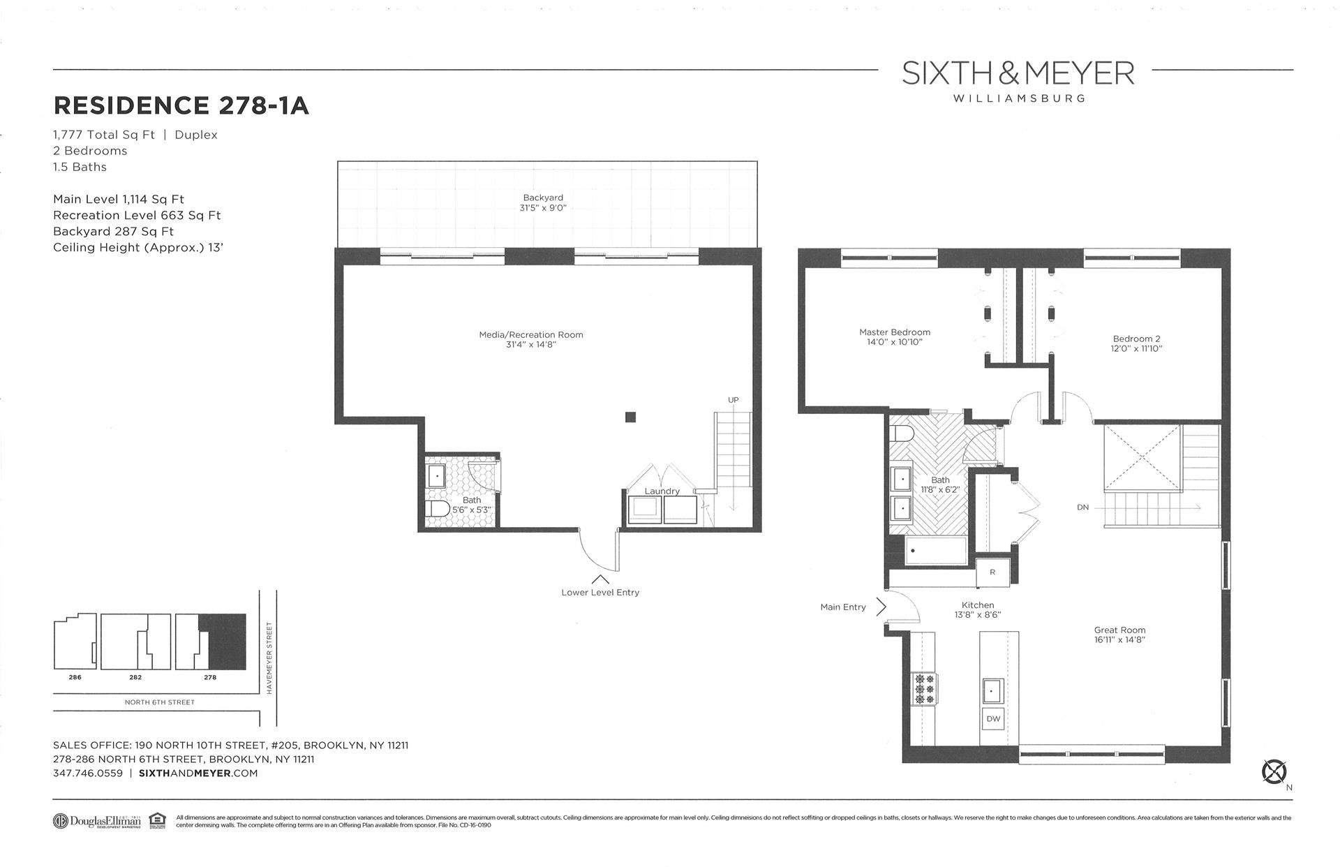 Floor plan of Sixth & Meyer, 278-286 North 6th St, 278/1A - Williamsburg, New York