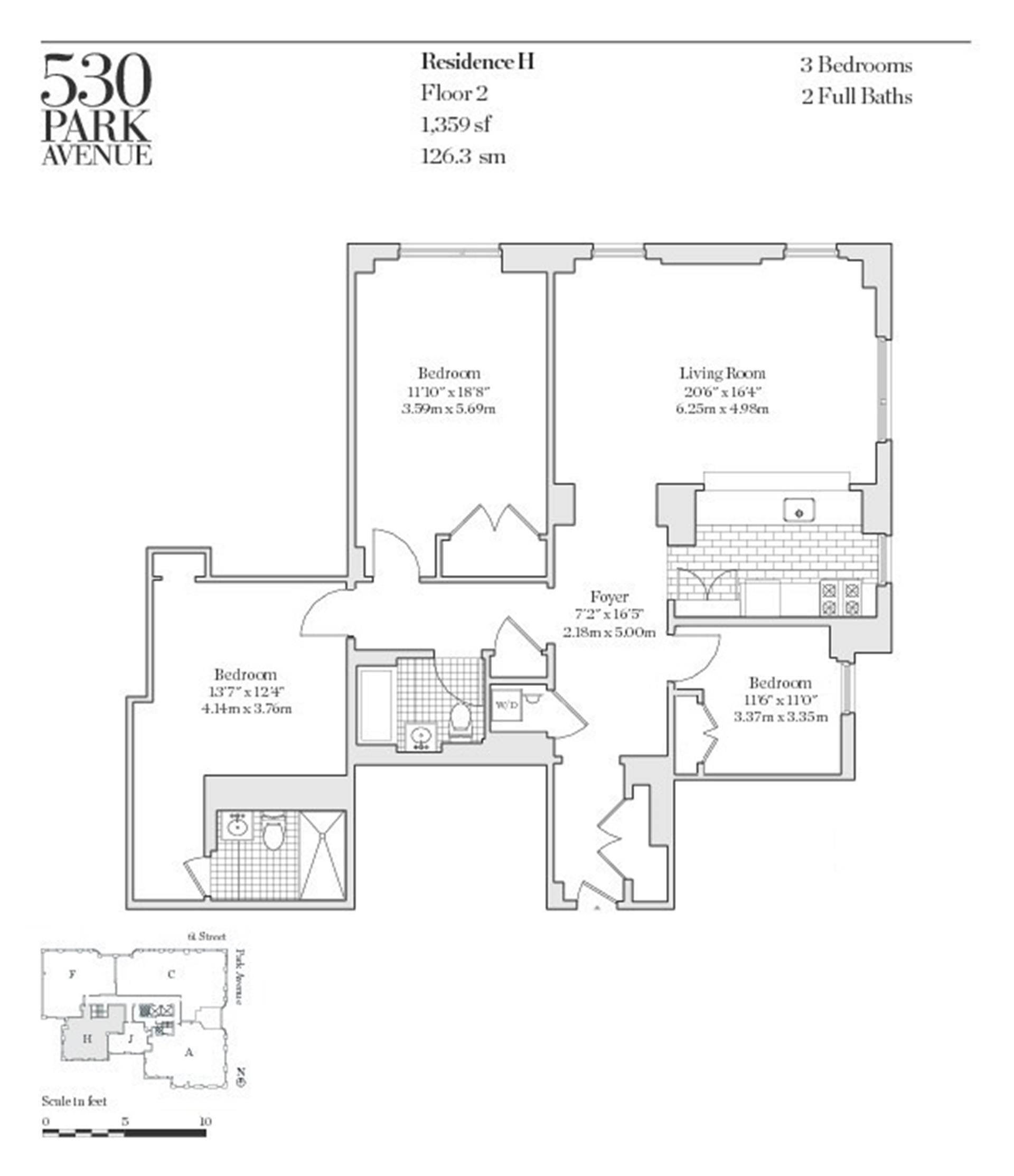 Floor plan of 530 Park Avenue, 2H - Upper East Side, New York