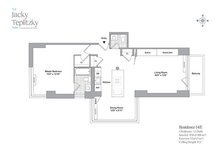 Floor plan of Maison East, 1438 Third Avenue, 14E - Upper East Side, New York
