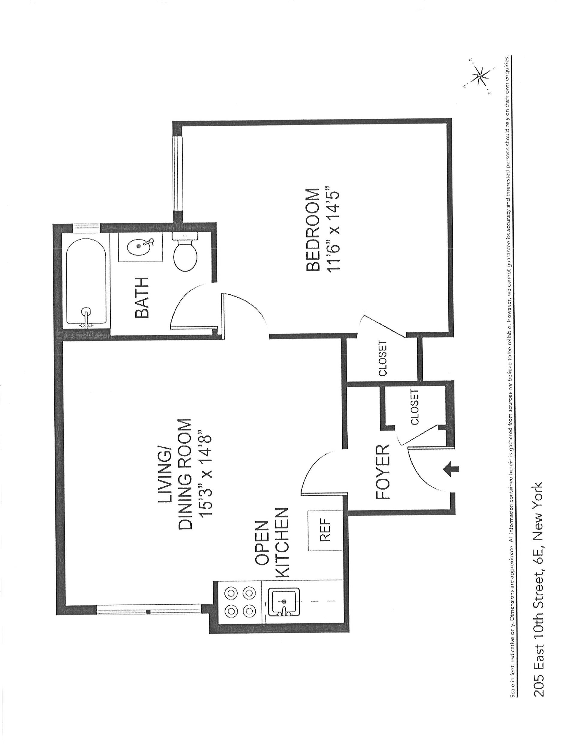 Floor plan of 205 East 10th St, 6E - East Village, New York